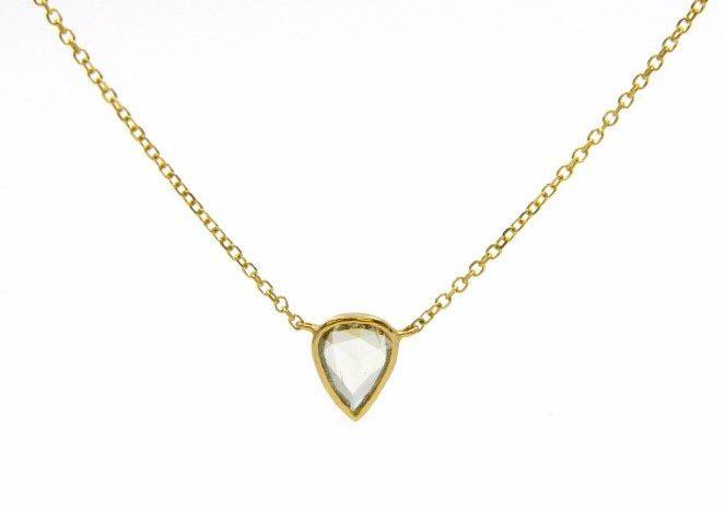 Yellow Gold Rose Cut Diamond Pendant Necklace