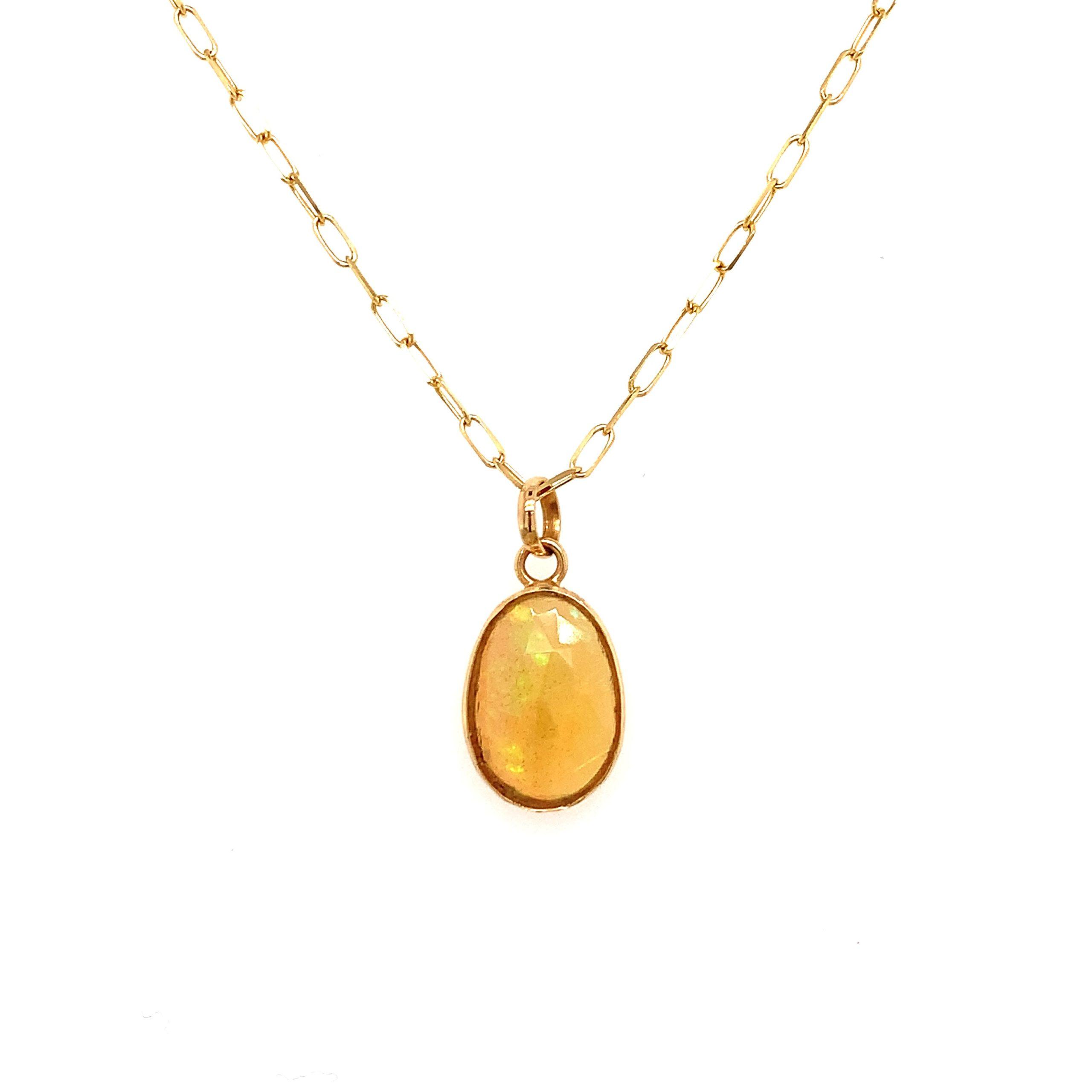 Yellow Gold Rose-Cut Opal Pendant