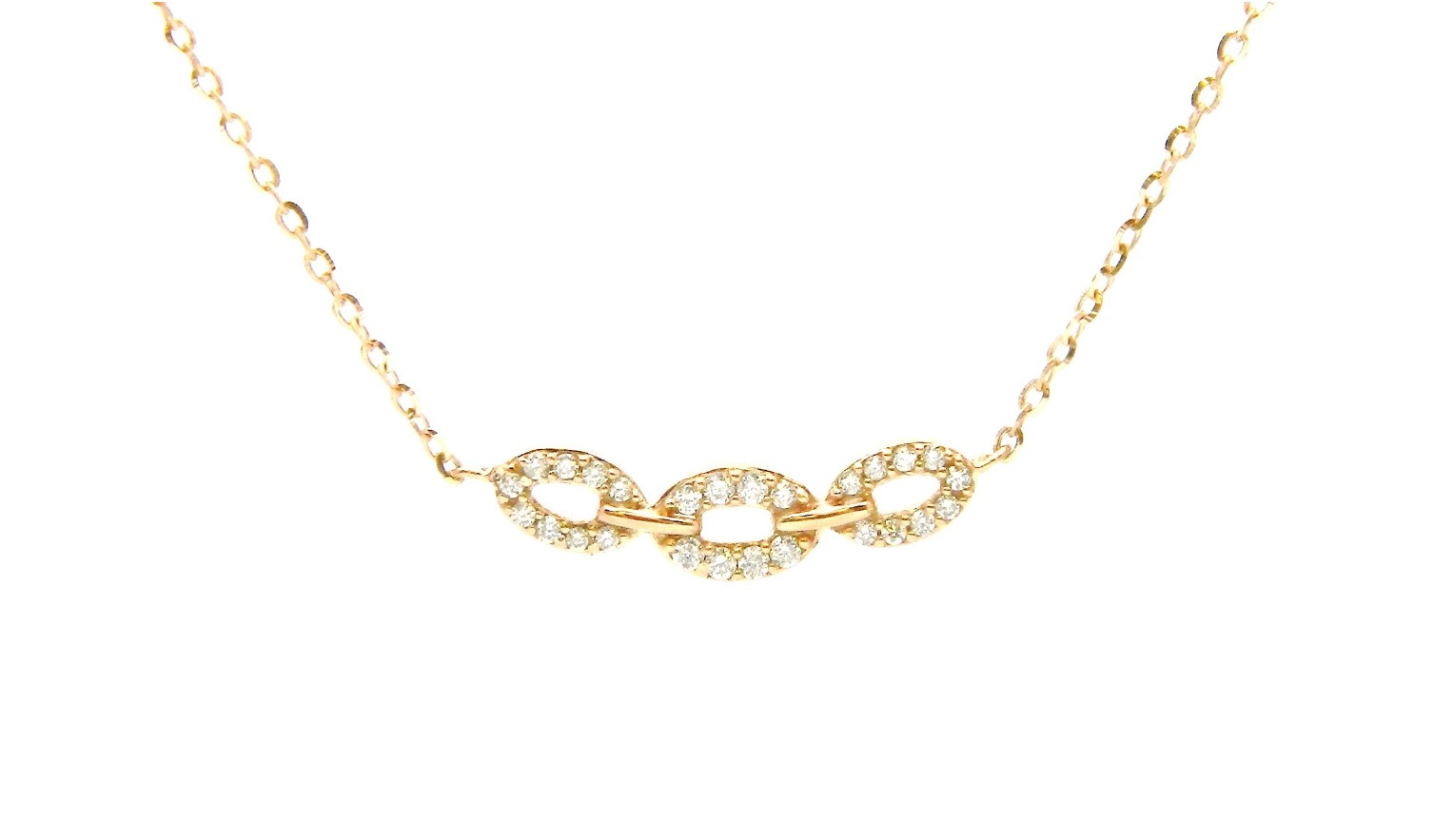 Rose Gold Open Oval Necklace With Diamonds