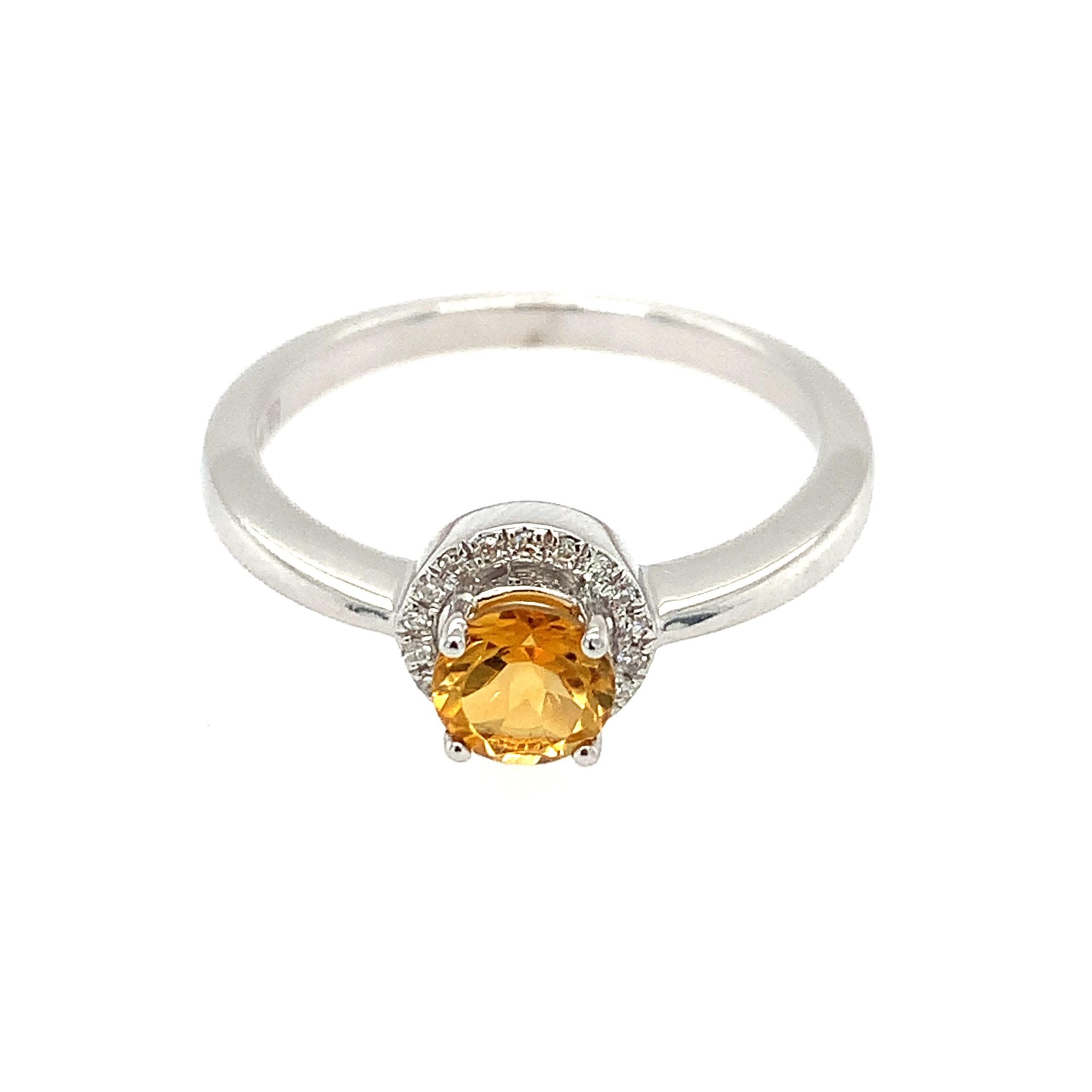 White Gold Citrine Ring