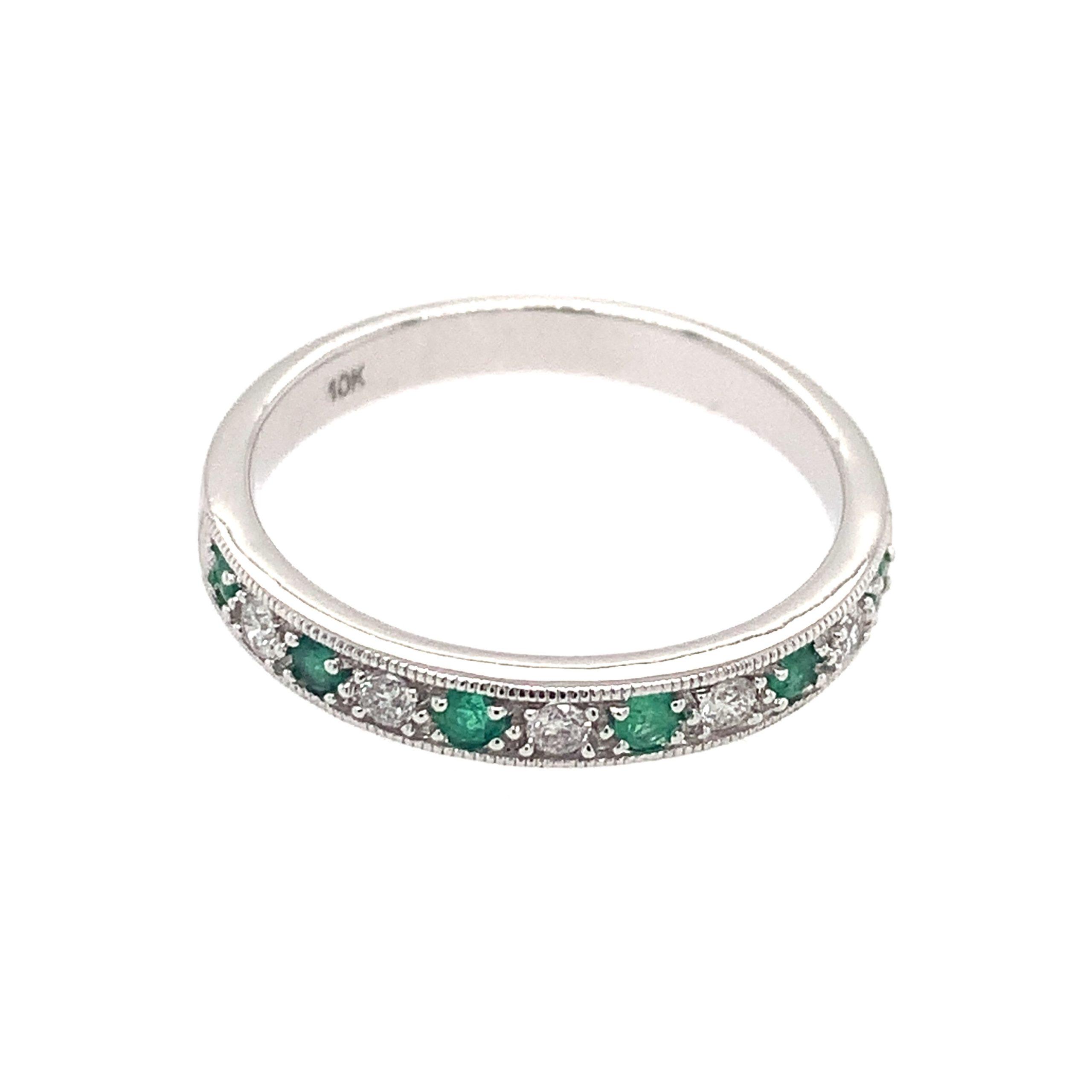 White Gold Emerald and Diamond Band