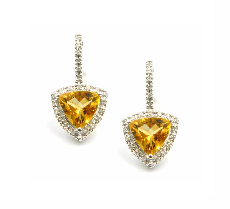 White Gold Citrine Earrings