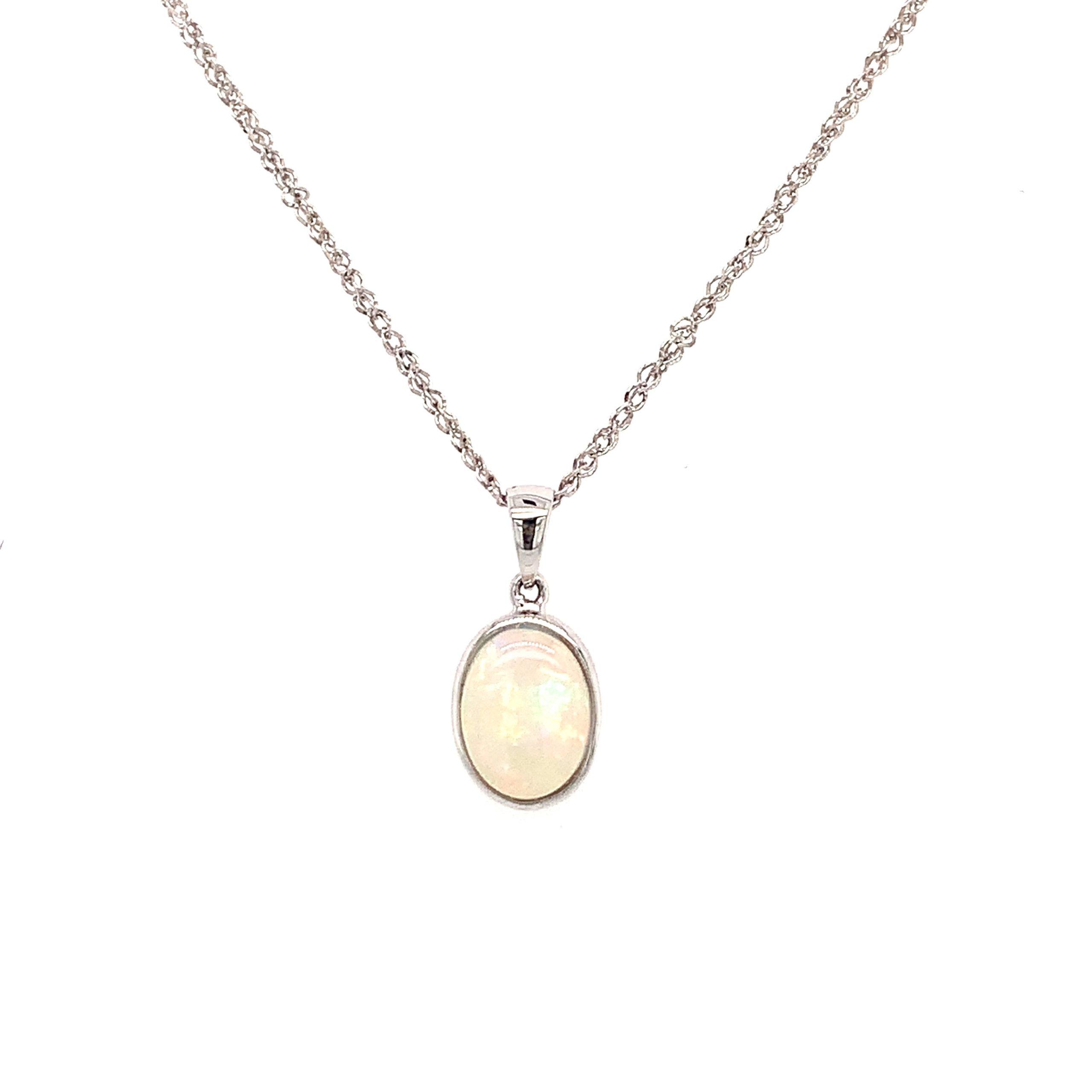 White Gold Bezel-Set Opal Pendant