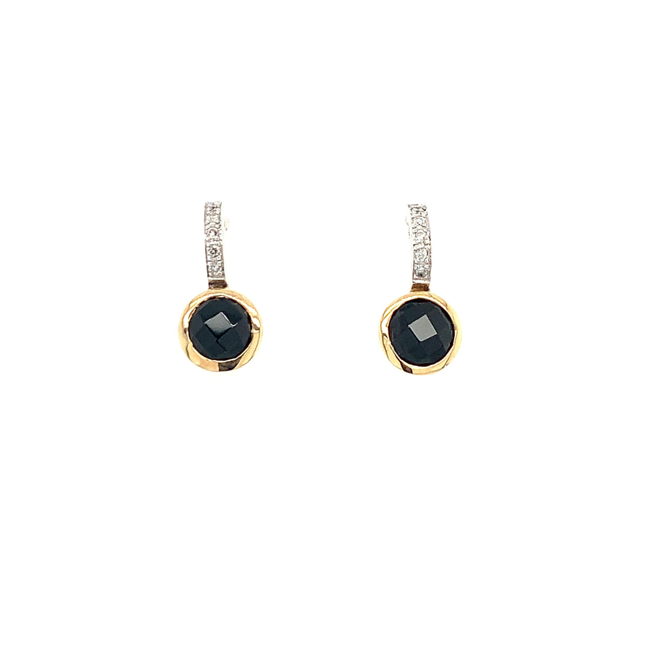 Two-Tone Gold Onyx Earrings
