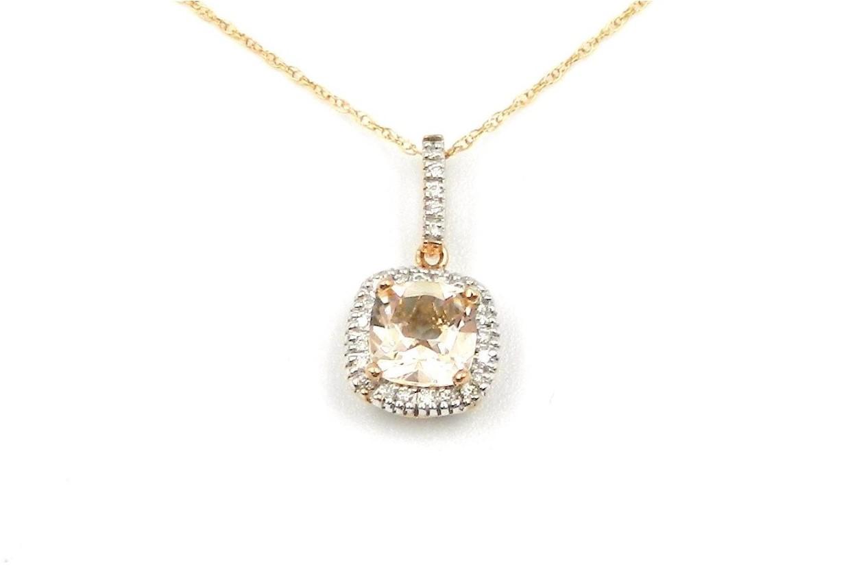 Rose Gold Morganite Pendant Necklace