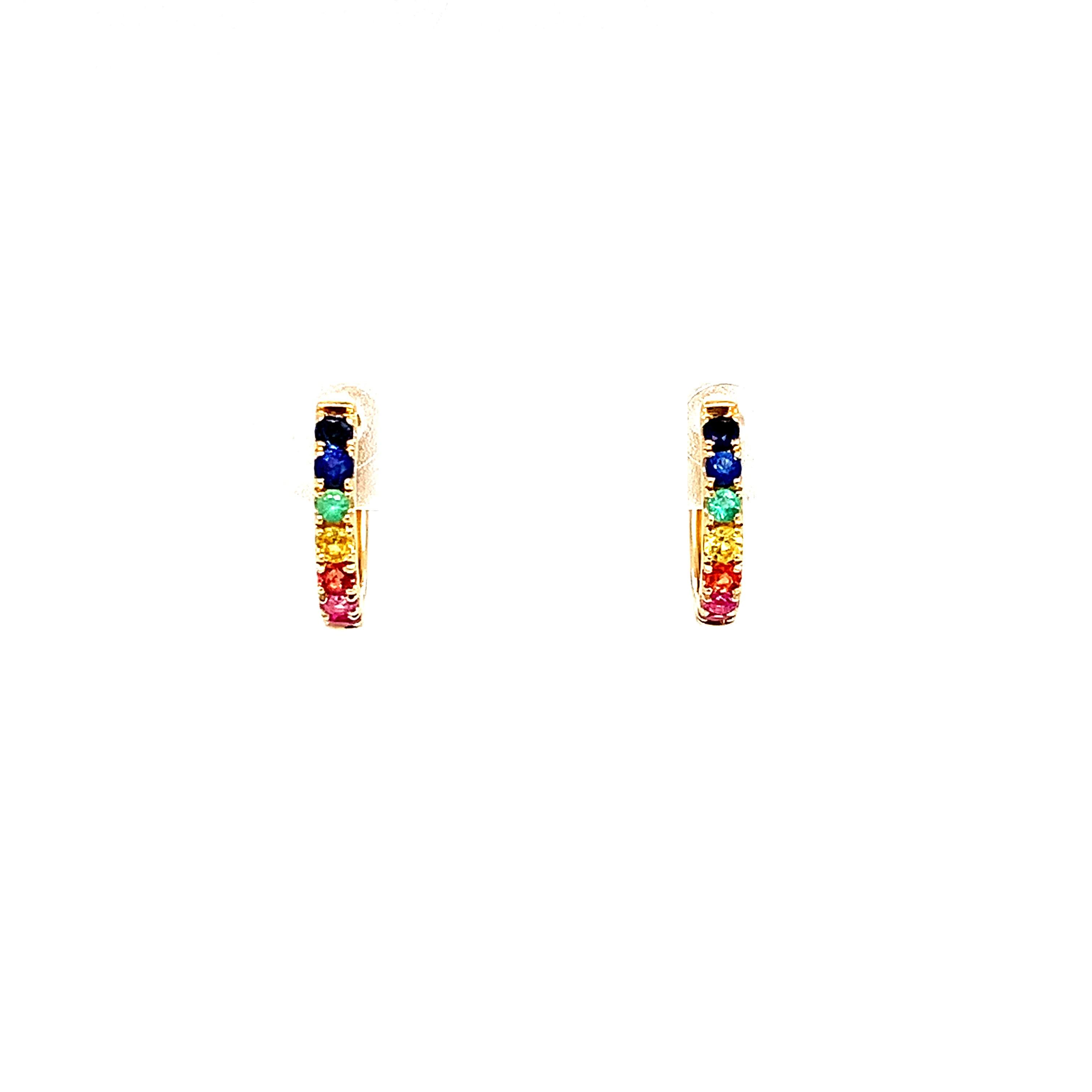 Yellow Gold Rainbow Sapphire Earrings