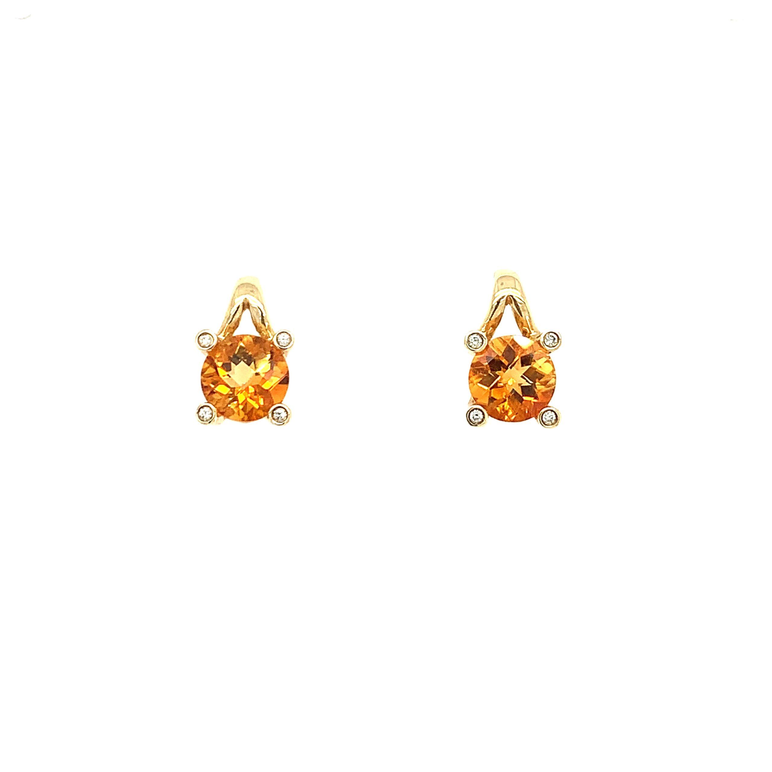 Yellow Gold Citrine Drop Earrings