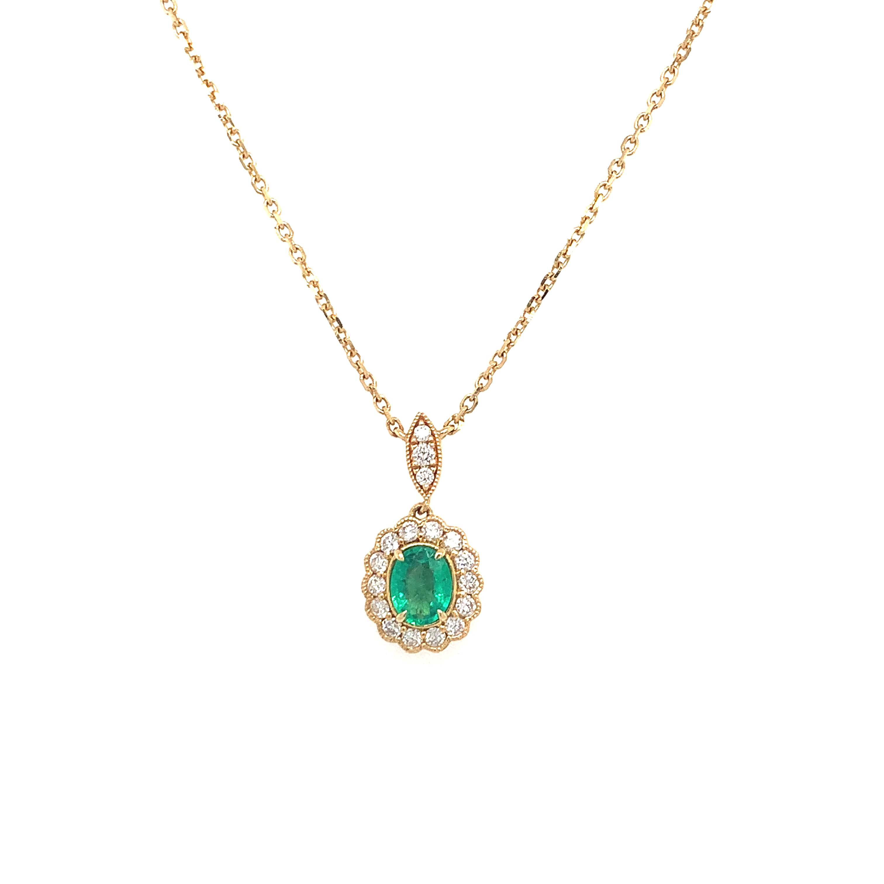 Yellow Gold Emerald Pendant Necklace