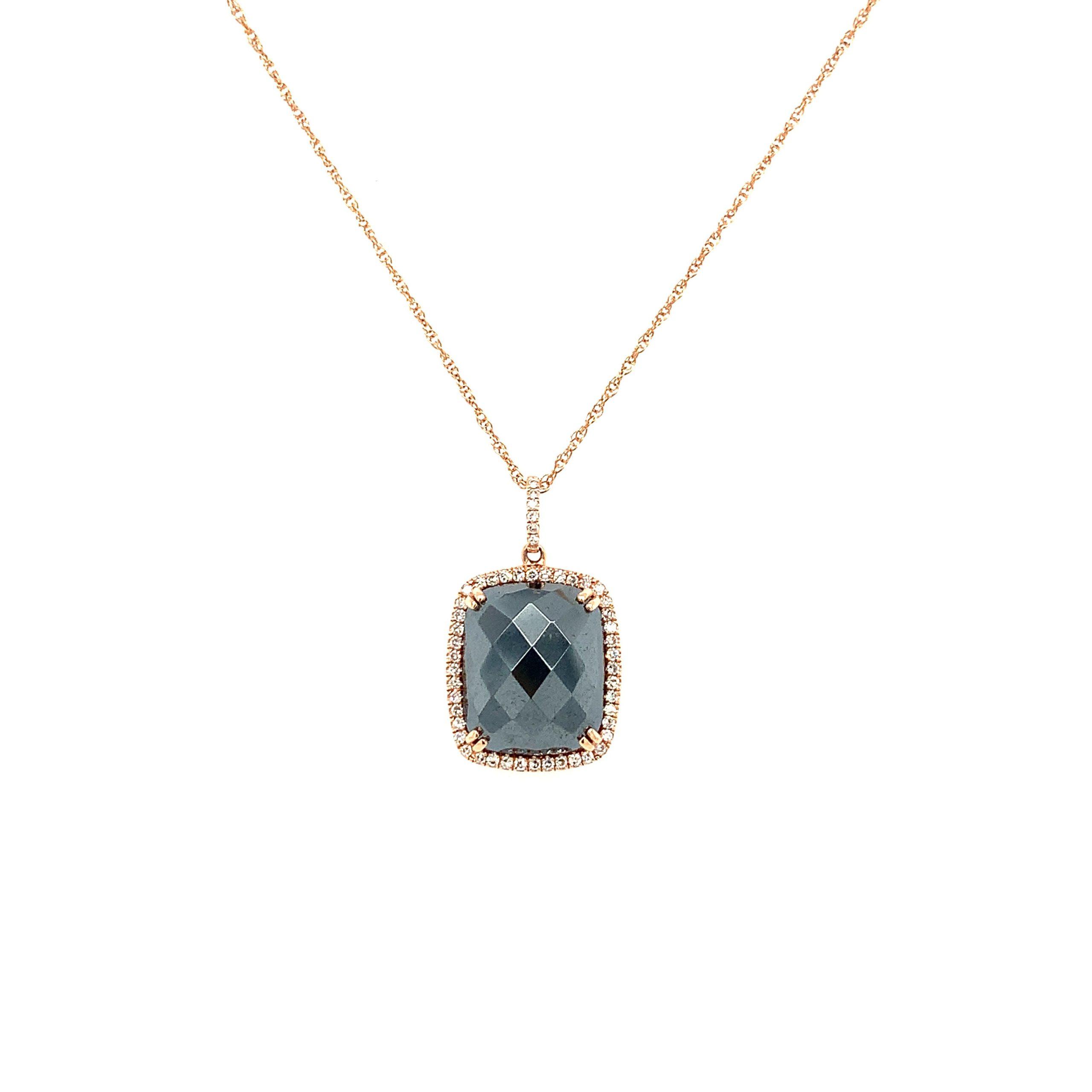Rose Gold Hematite Pendant Necklace