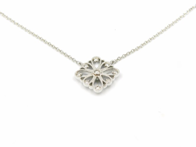 White Gold Floral Inspired Diamond Necklace