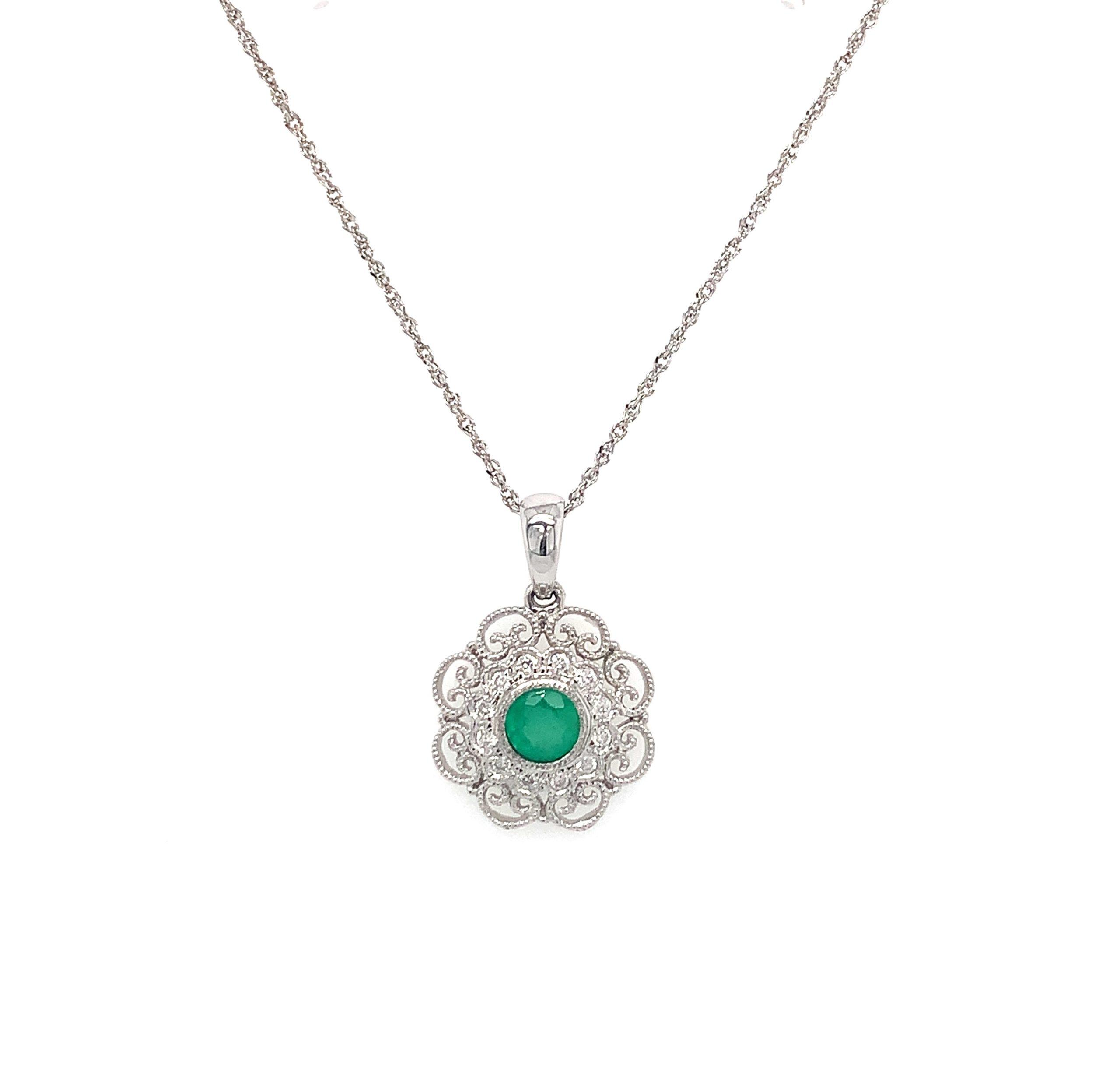 White Gold Filigree Emerald Pendant Necklace