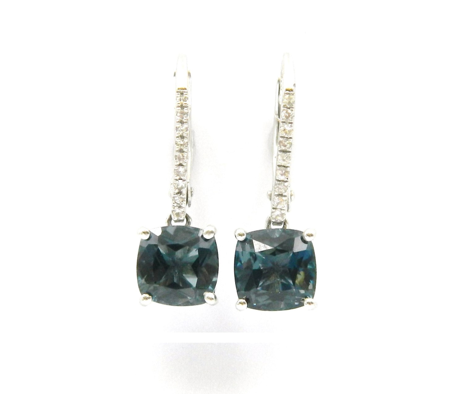 White Gold London Blue Earrings With White Sapphire