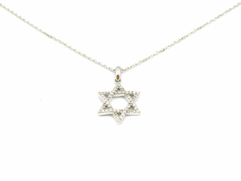 White Gold Star of David Pendant