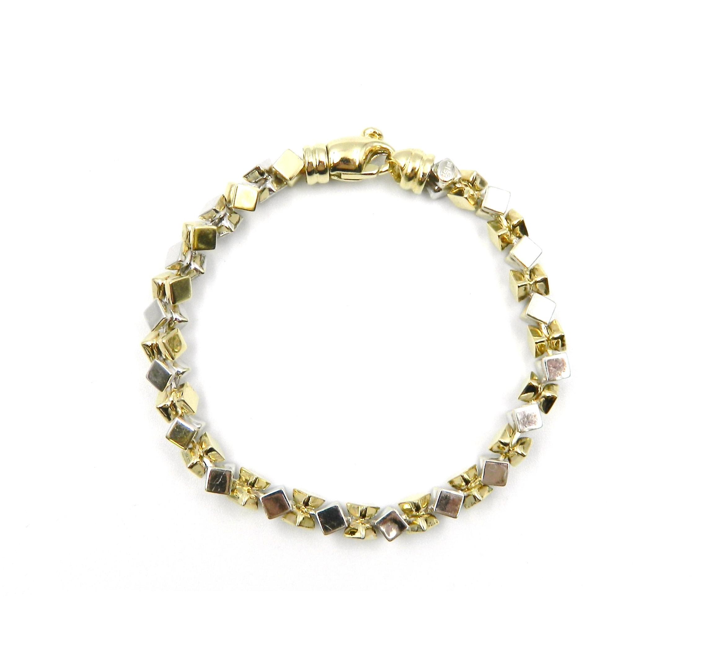 Estate Piece - Gold Two-Tone Cube Bracelet