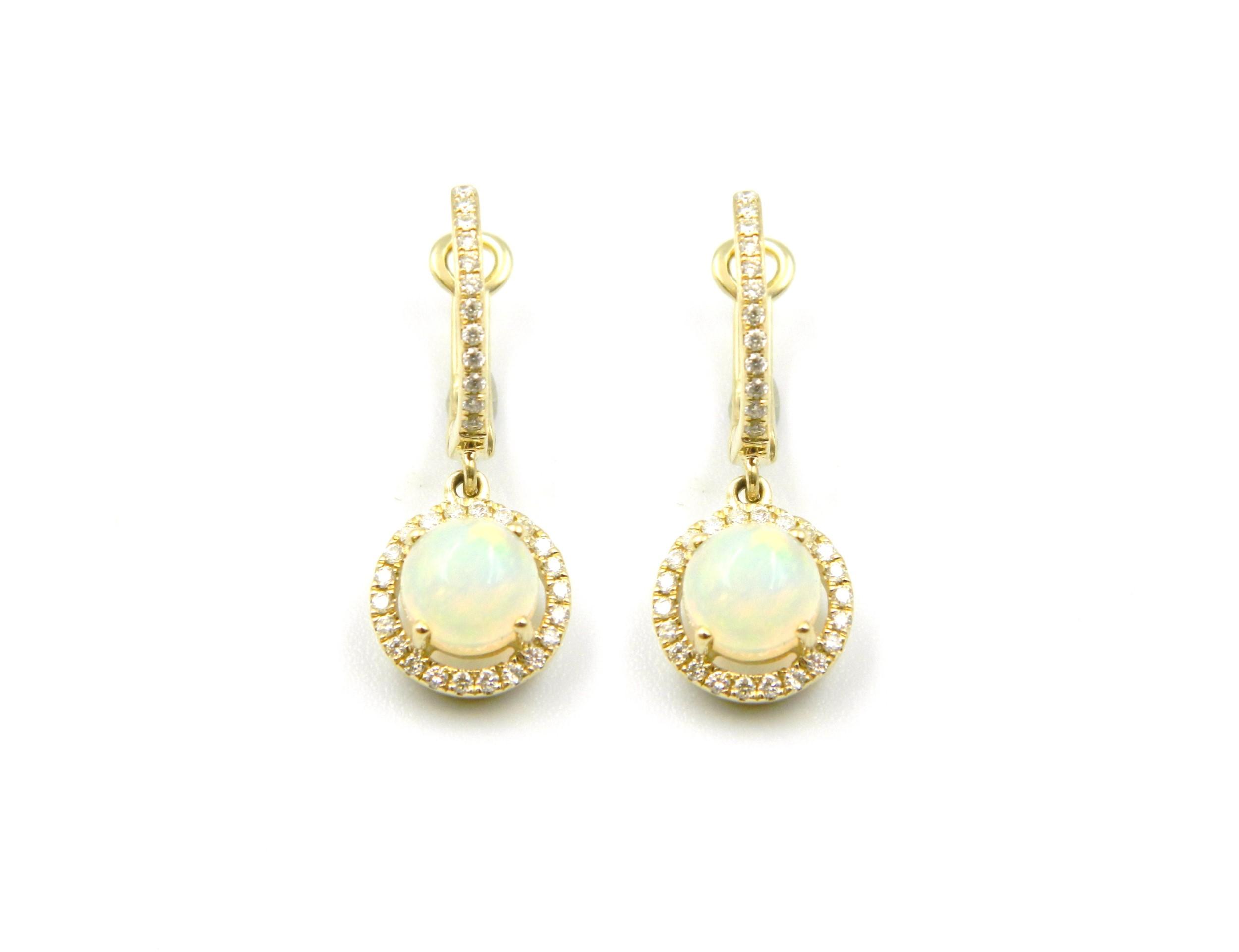 Yellow Gold Opal Dangle Earrings