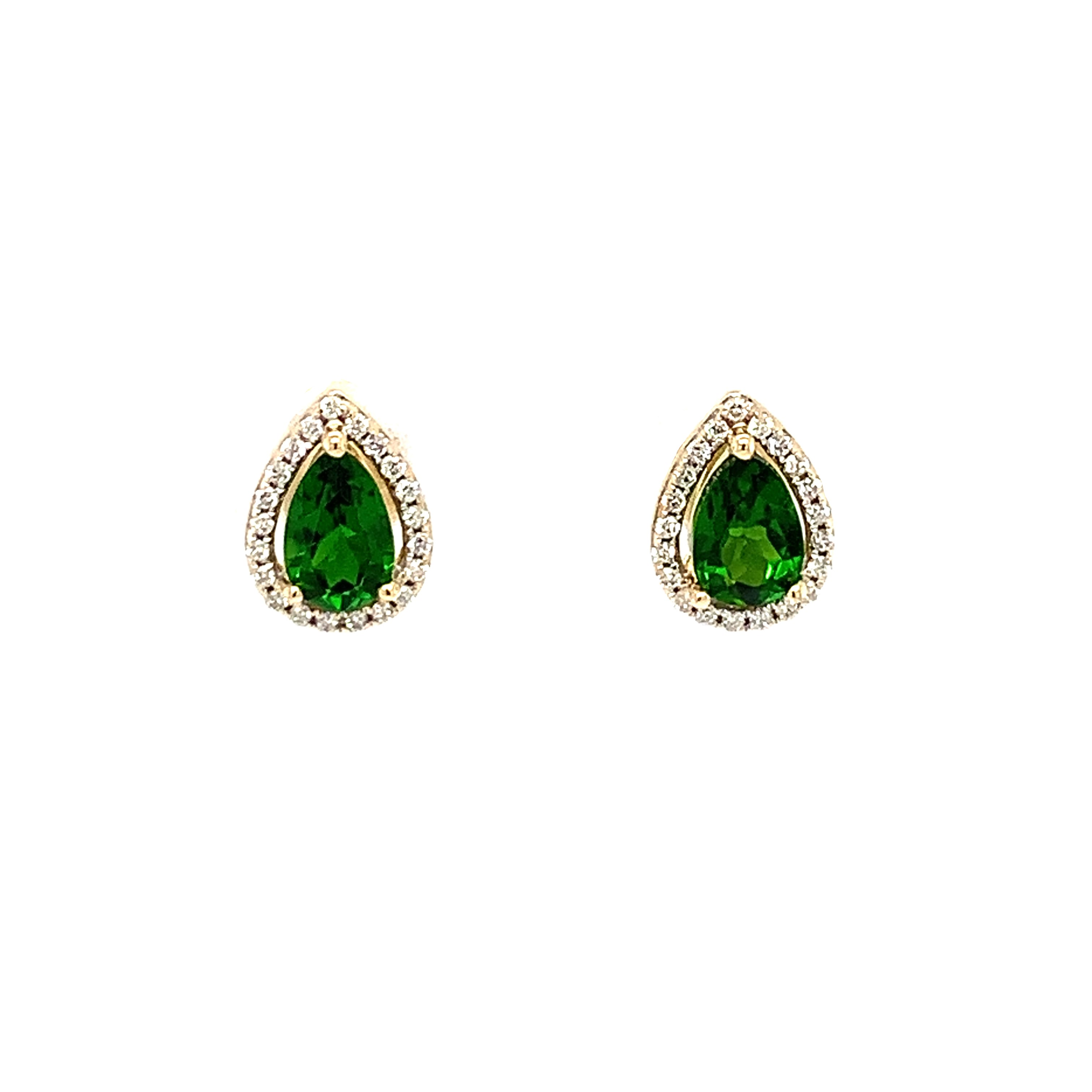 Yellow Gold Chrome Diopside Earrings