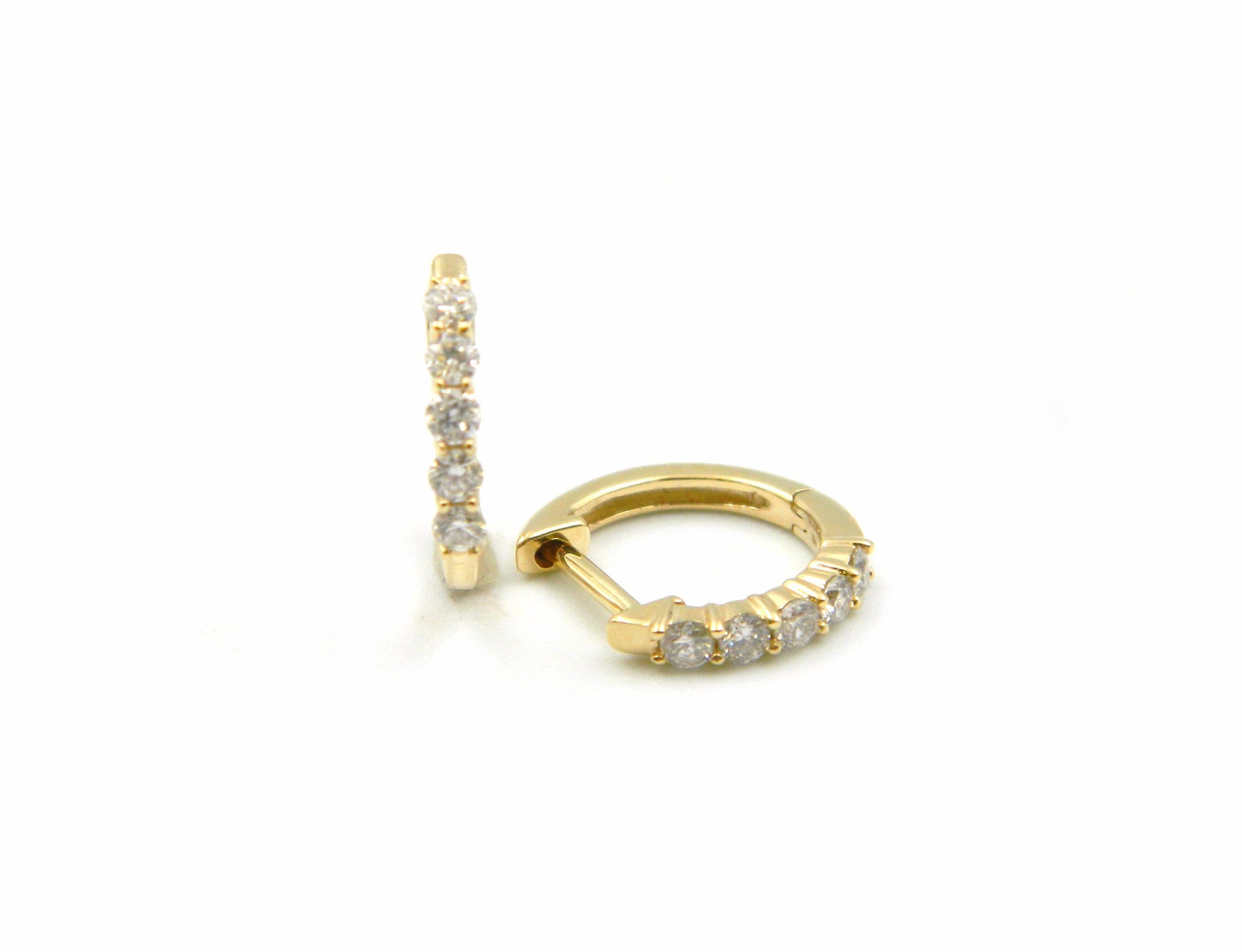 Yellow Gold Diamond Huggies