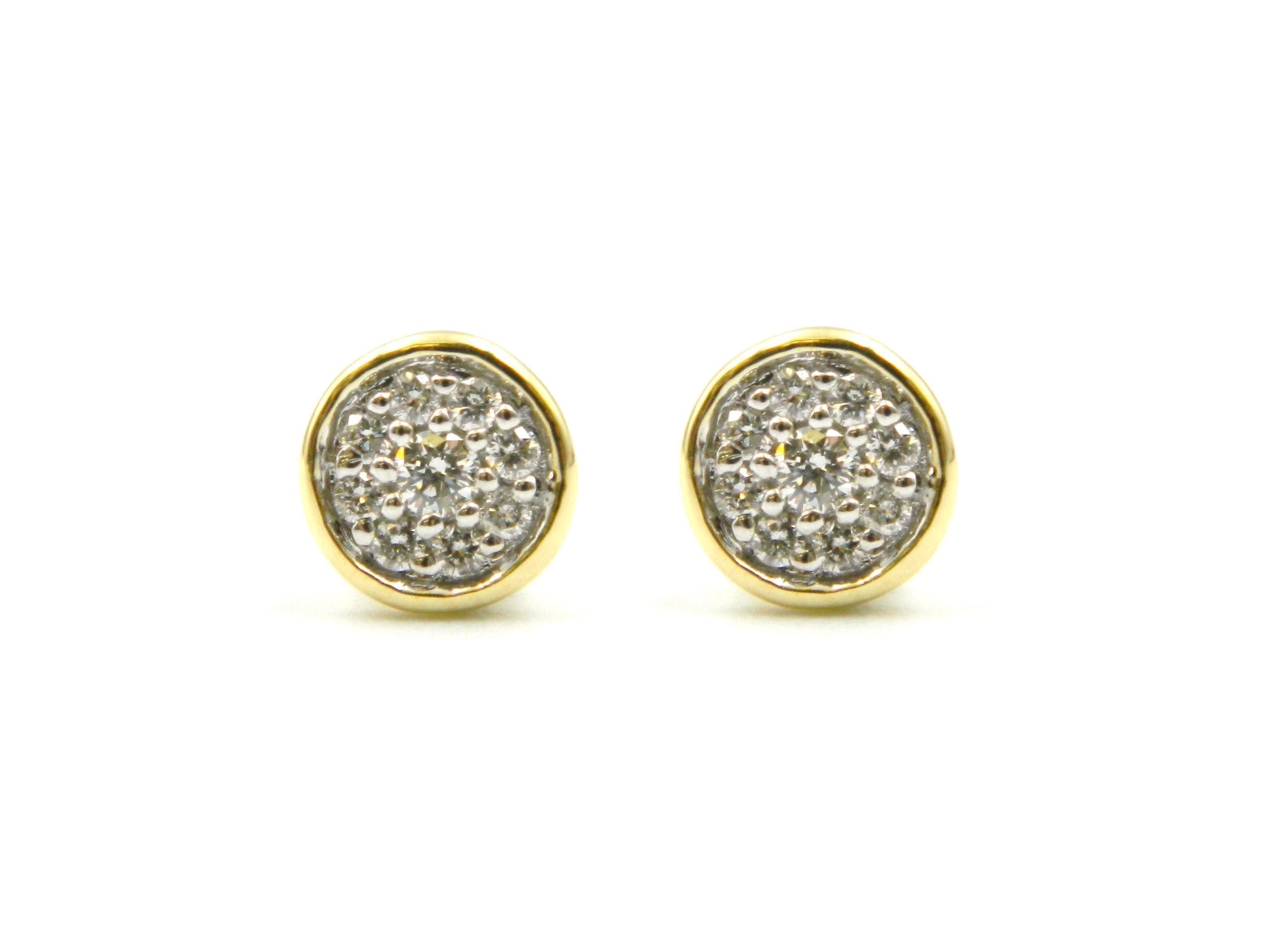 Yellow Gold Diamond Cluster Earrings
