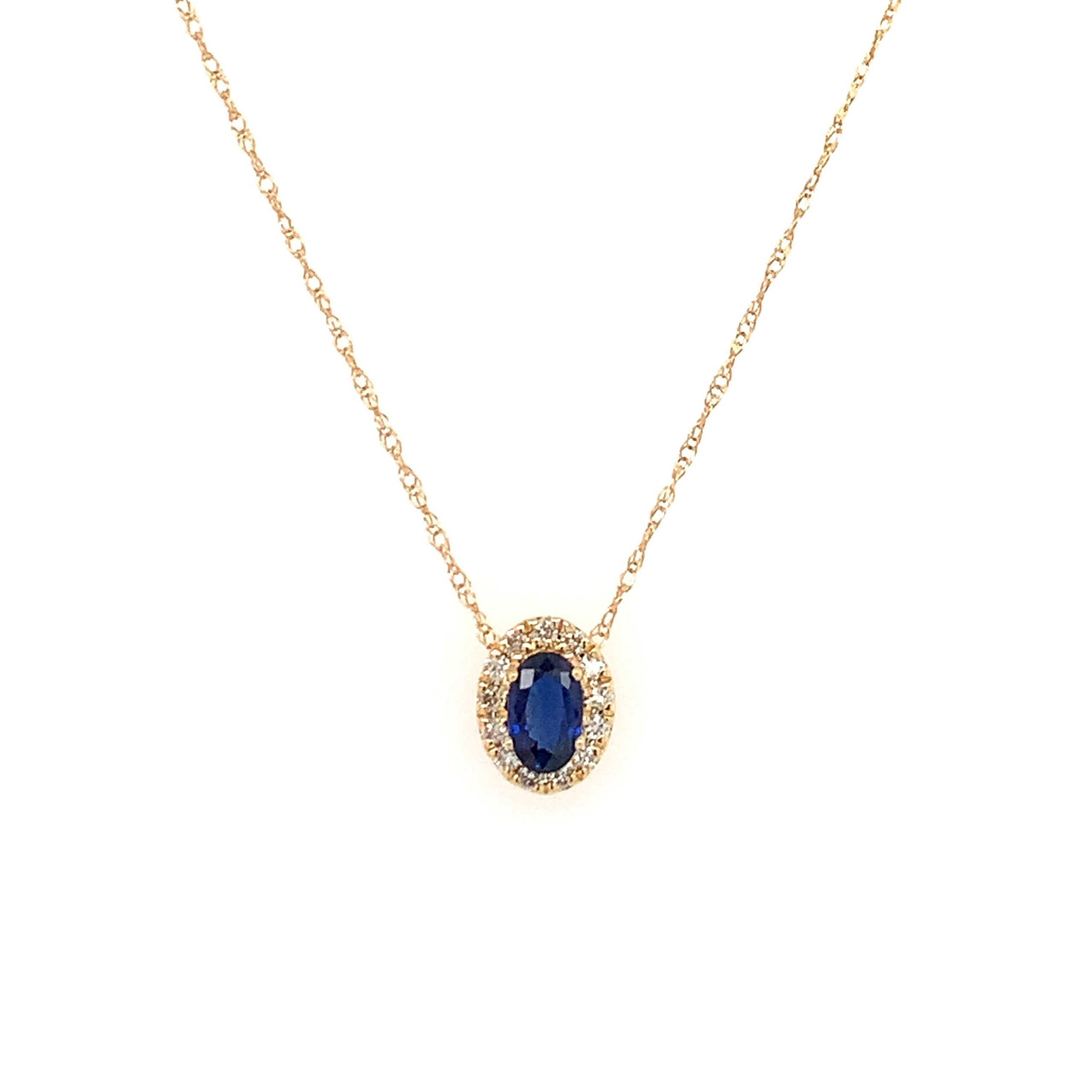Yellow Gold Sapphire Pendant Necklace