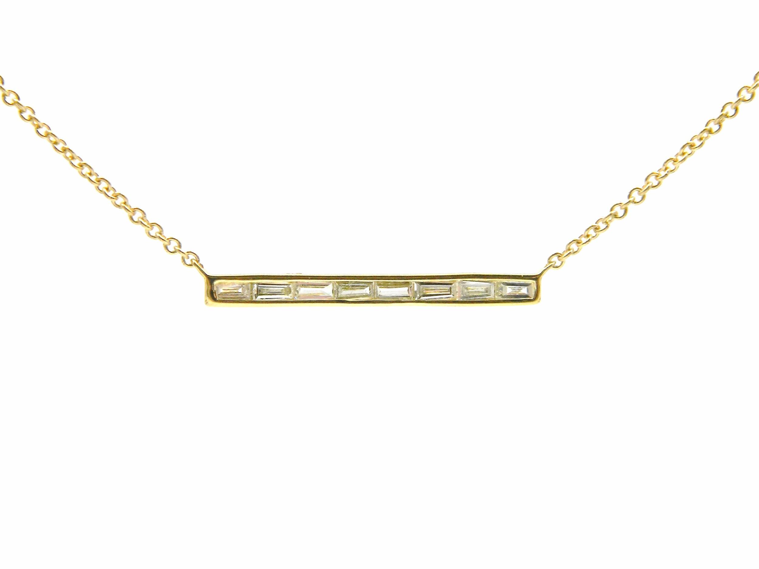 Yellow Gold Diamond Bar Pendant Necklace