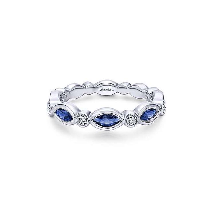 Diamond & Sapphire Stackable Band