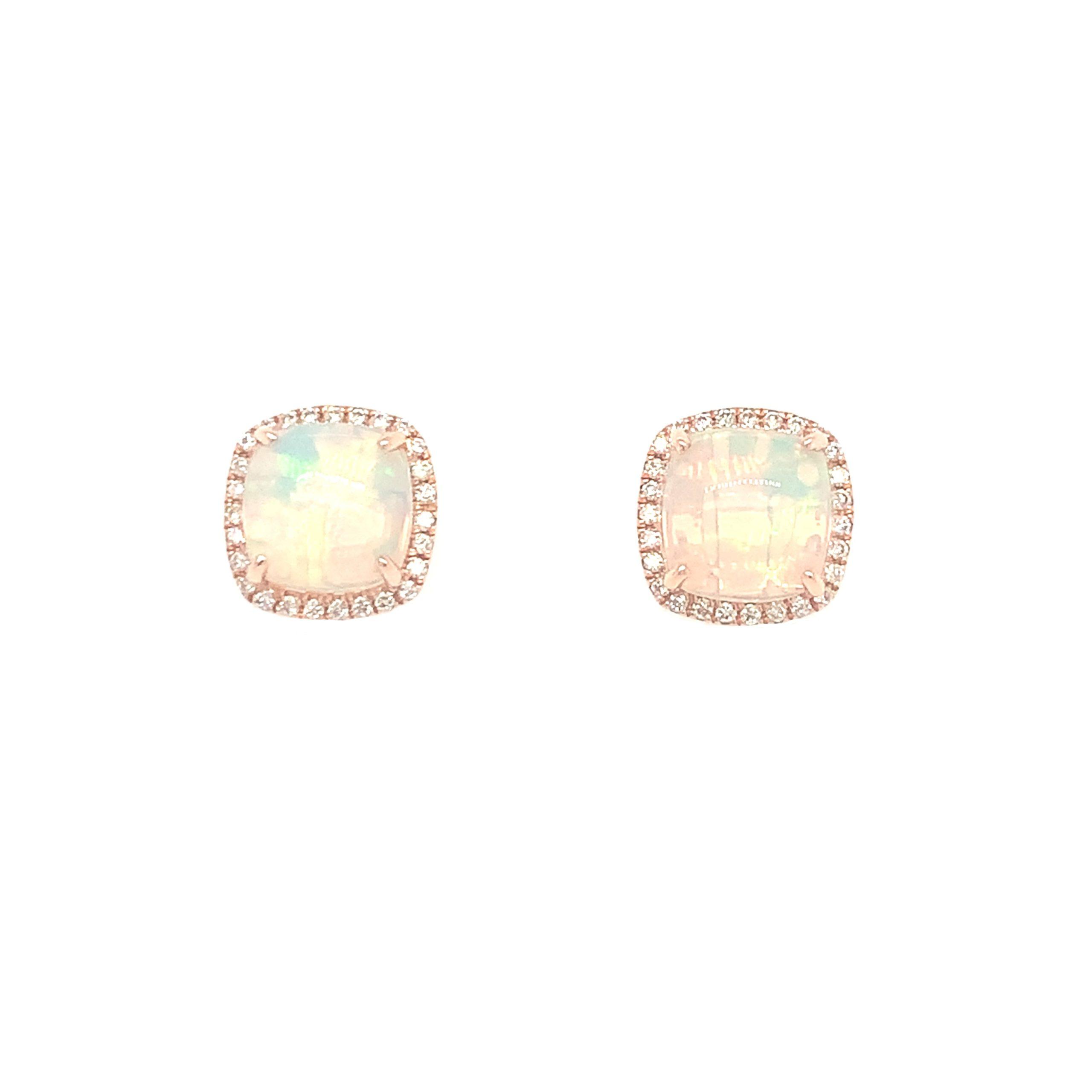 Rose Gold Opal Earrings