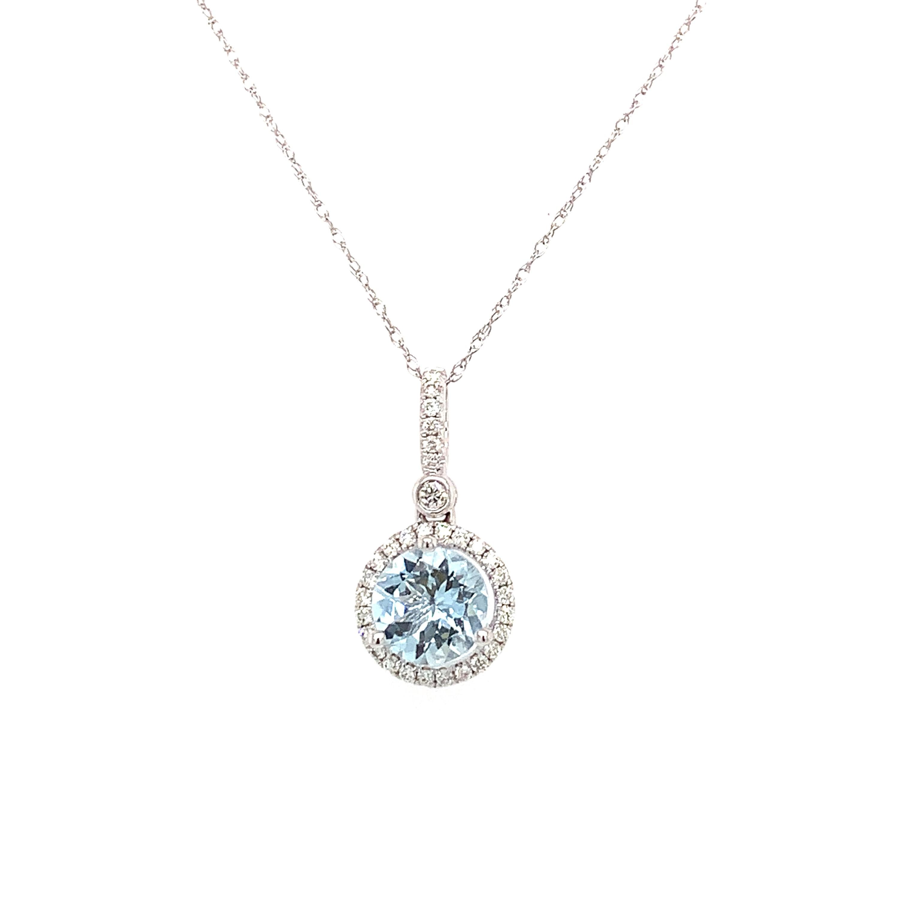 White Gold Aquamarine Pendant Necklace