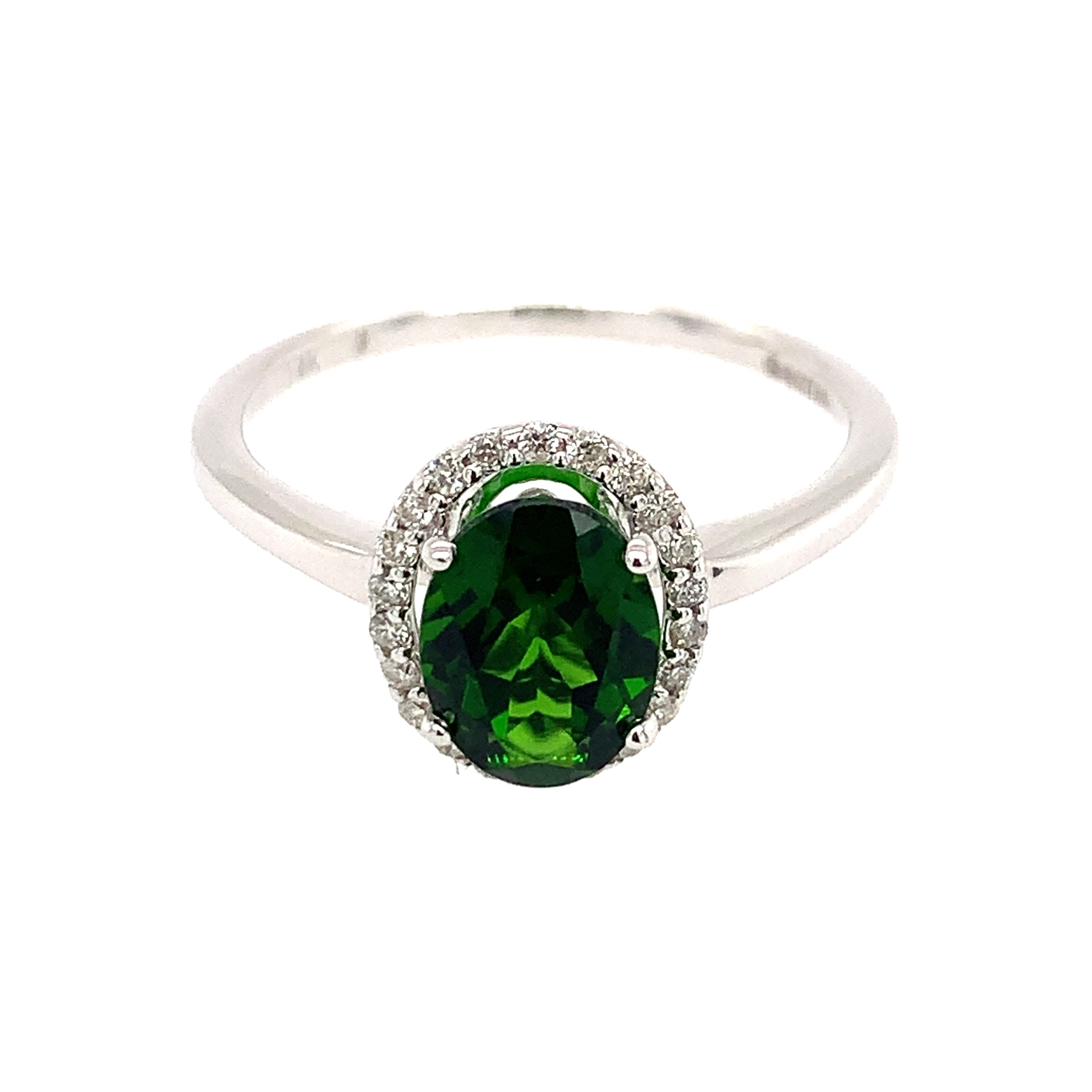 White Gold Chrome Diopside Ring
