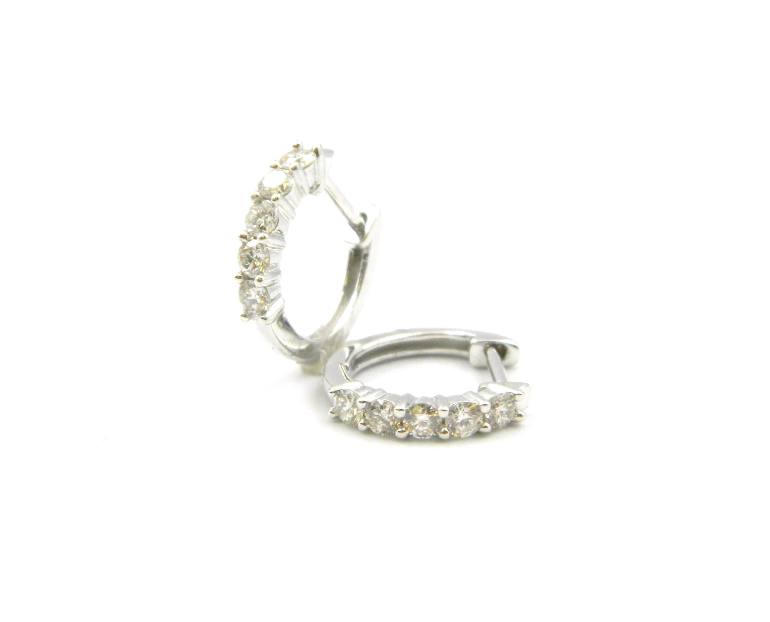 White Gold Diamond Huggies