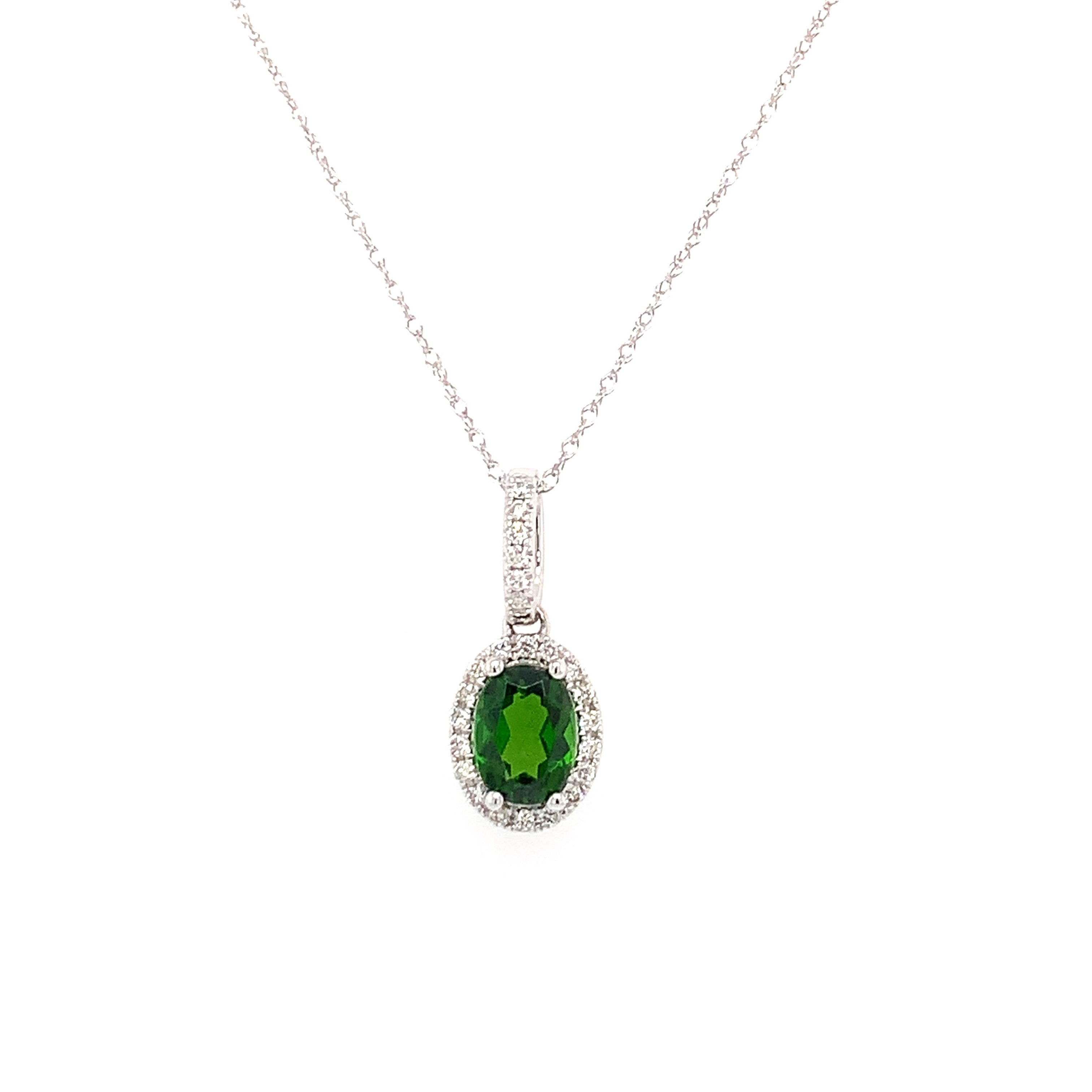 White Gold Chrome Diopside Pendant Necklace
