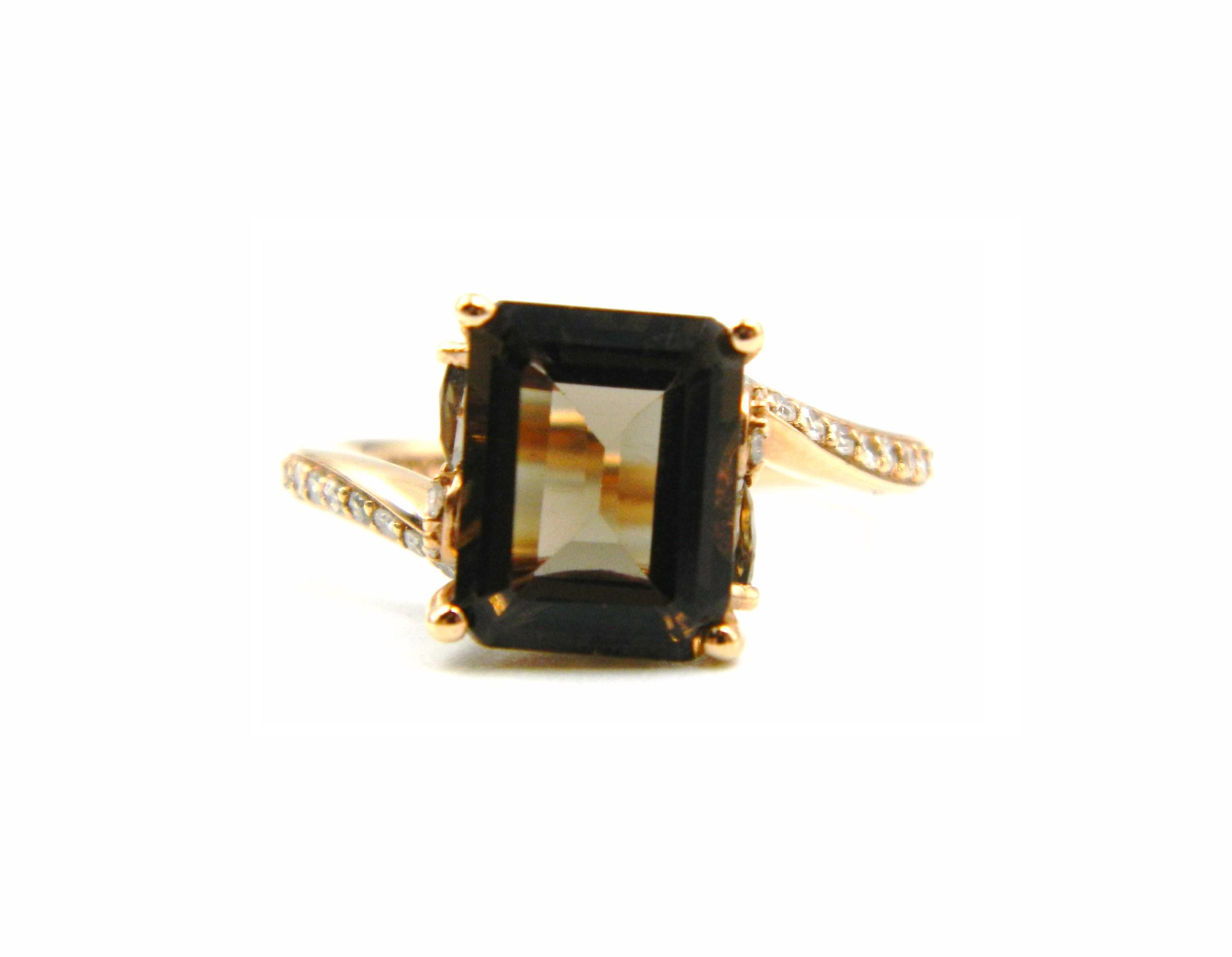 Rose Gold Smoky Topaz Ring