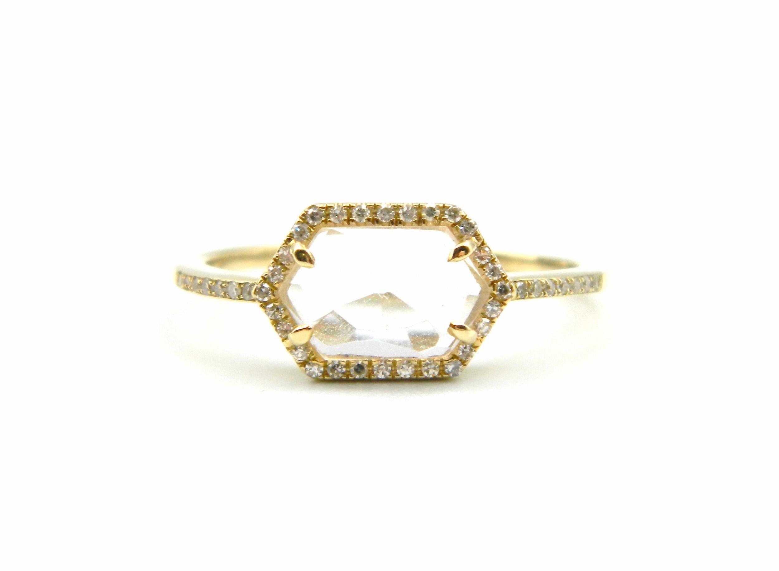 Yellow Gold White Topaz Ring