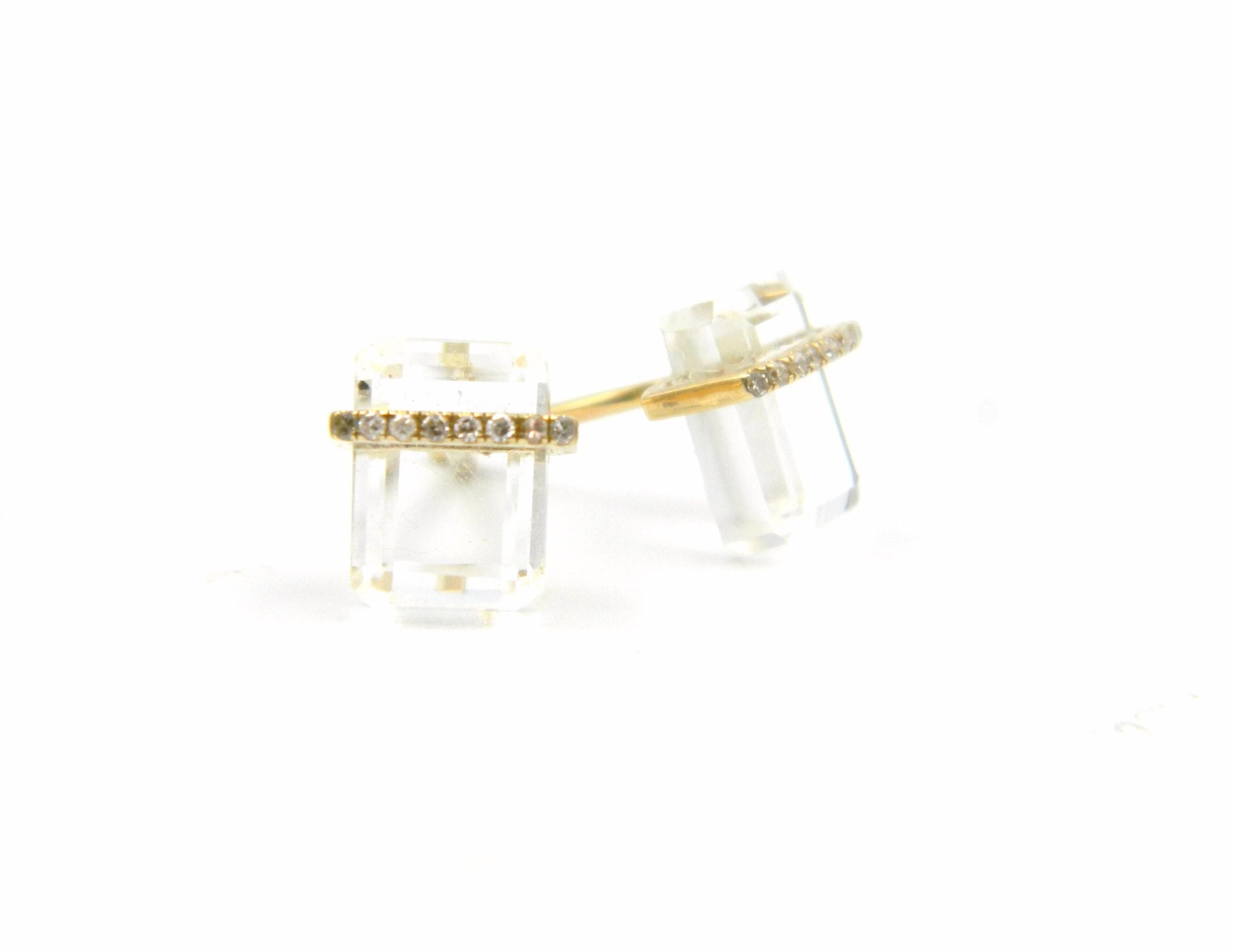 Yellow Gold White Topaz Earrings