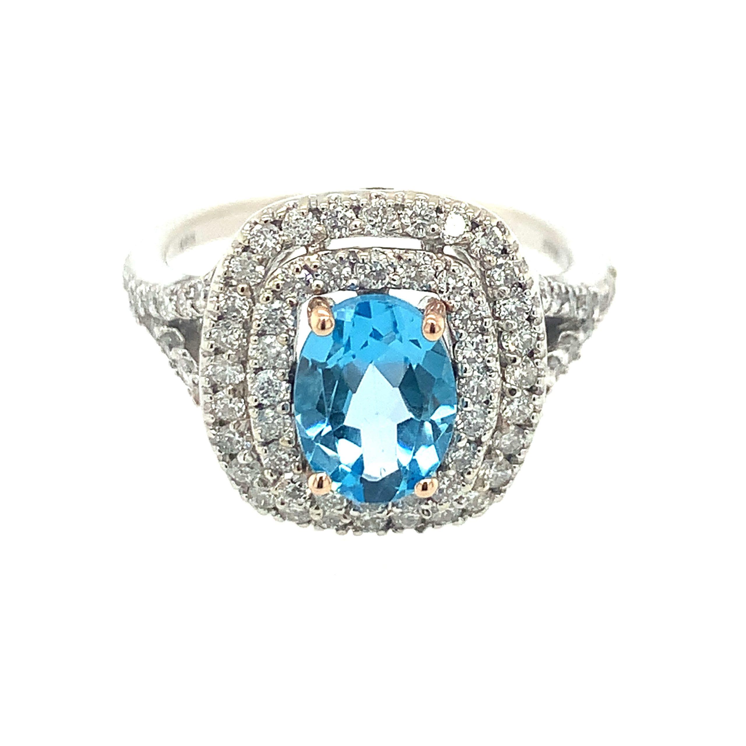 White & Rose Gold Blue Topaz Ring