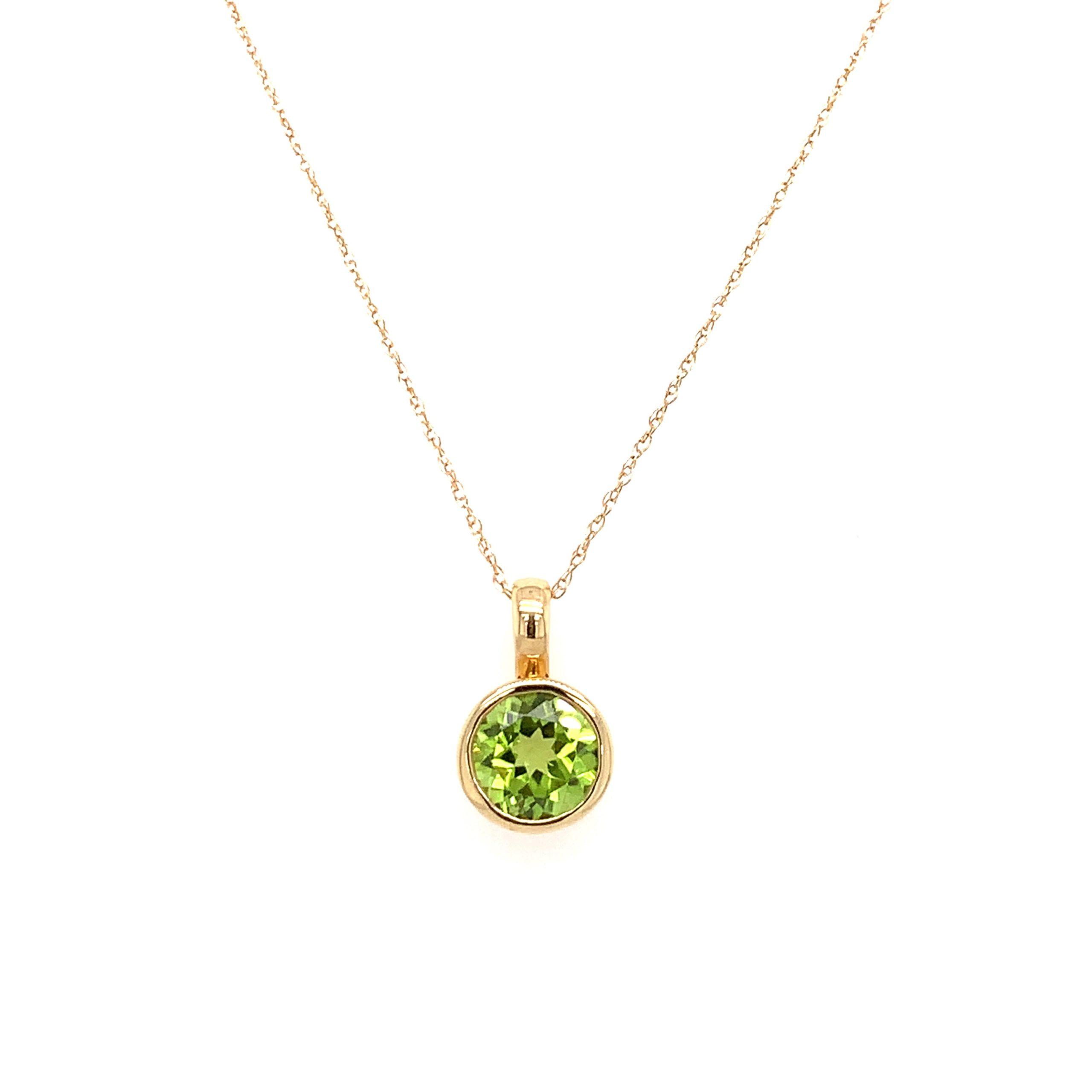 Yellow Gold Peridot Pendant Necklace