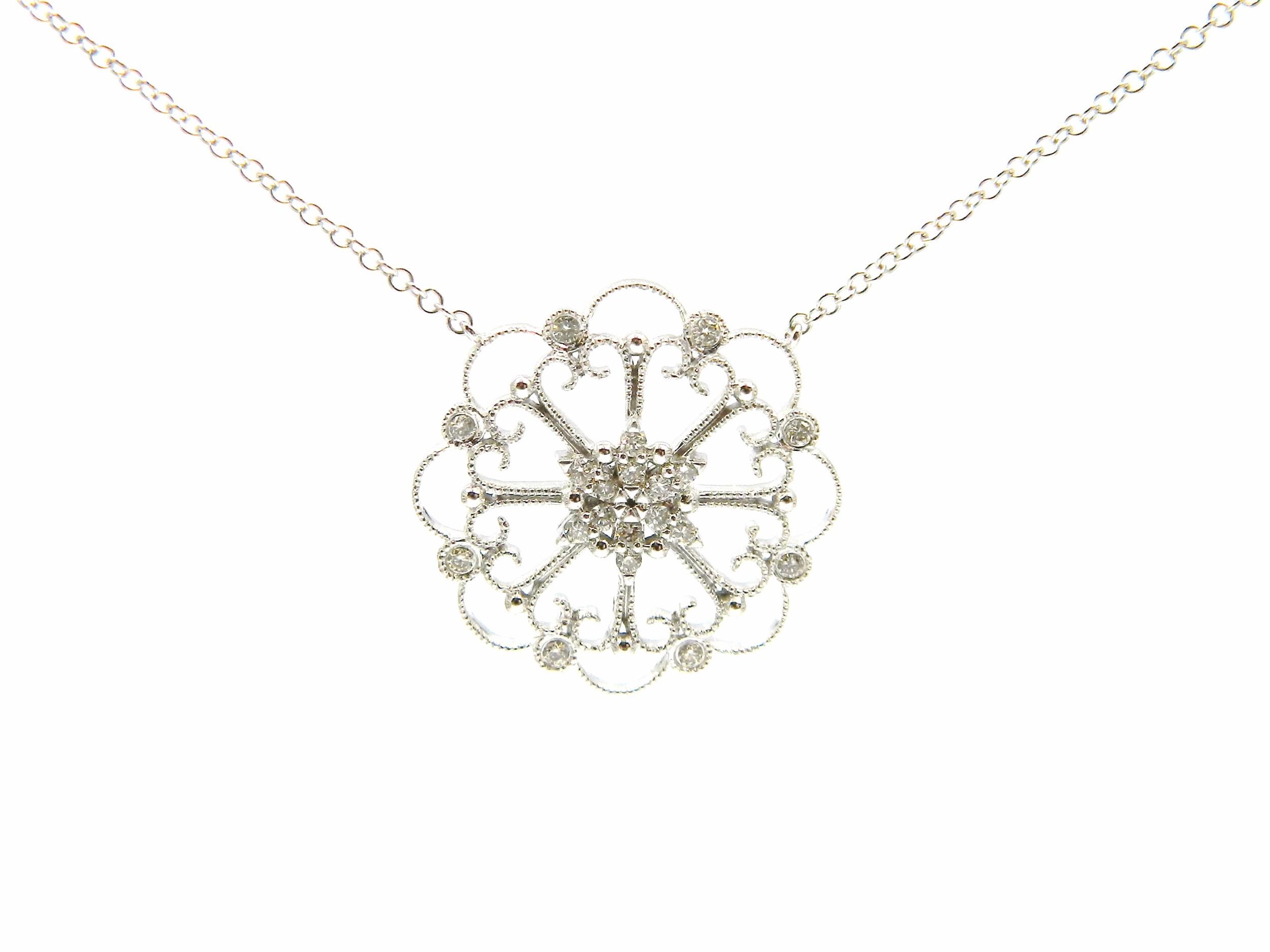 White Gold Diamond Filigree Pendant Necklace