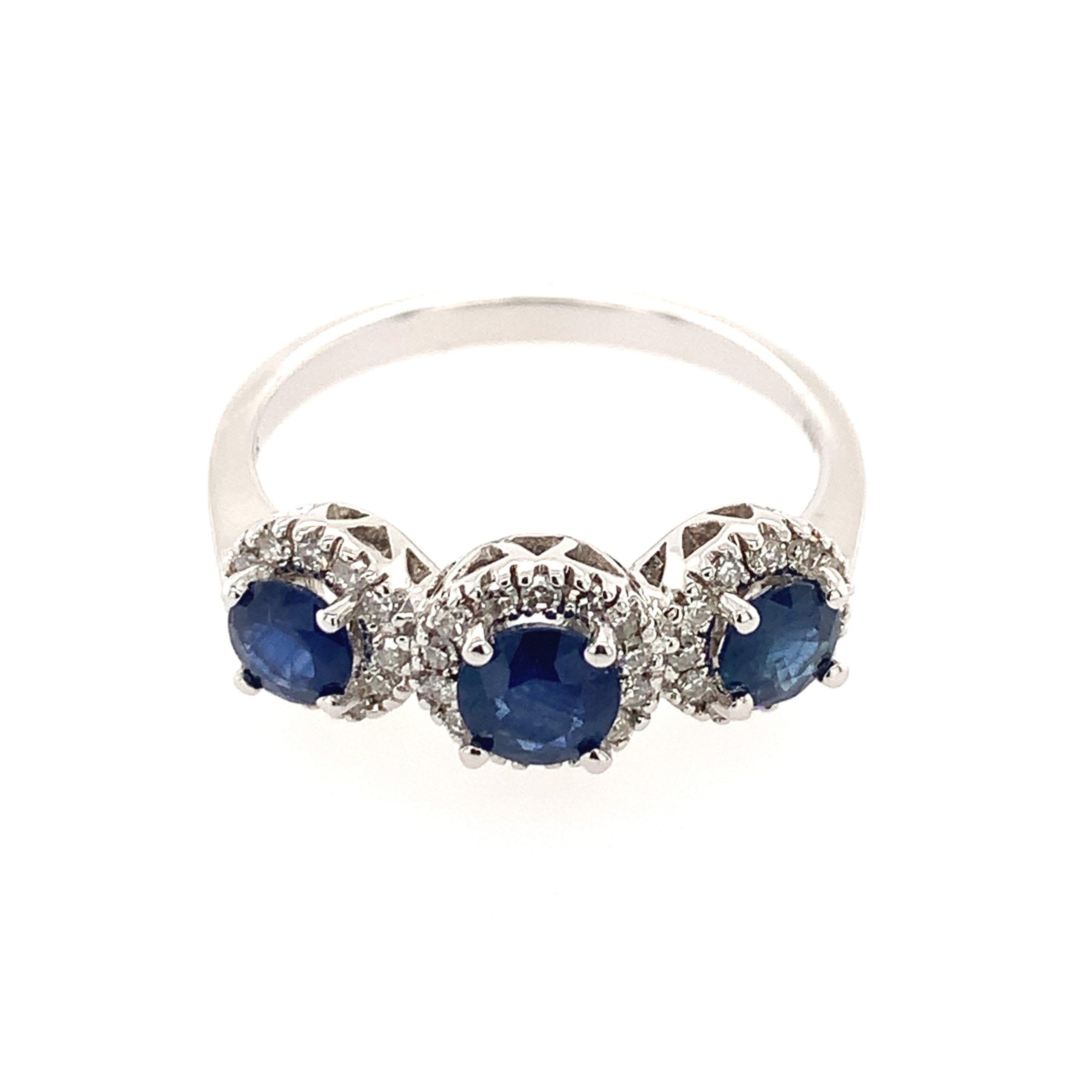 White Gold Three-Stone Sapphire Ring