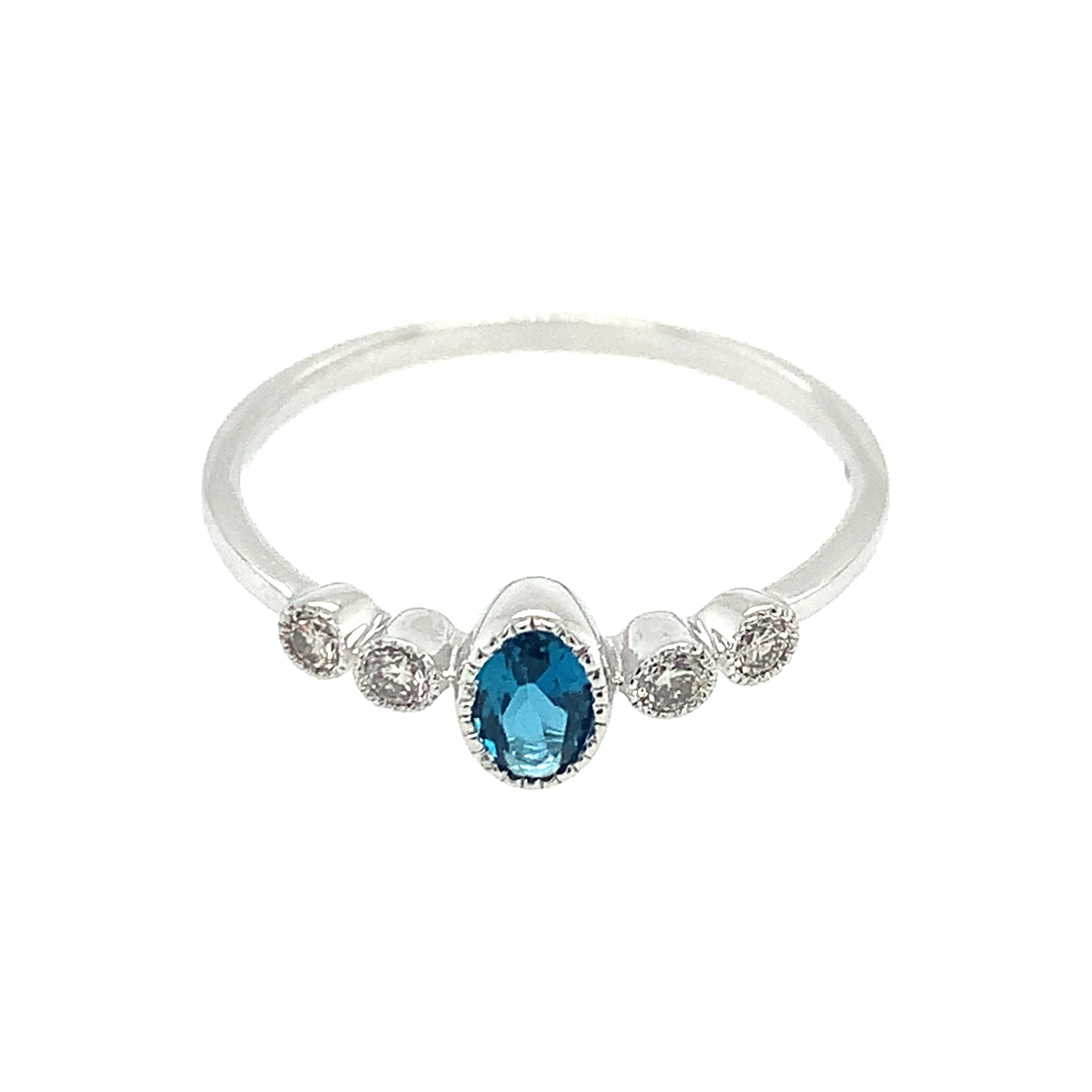 White Gold London Blue Topaz Stackable Ring