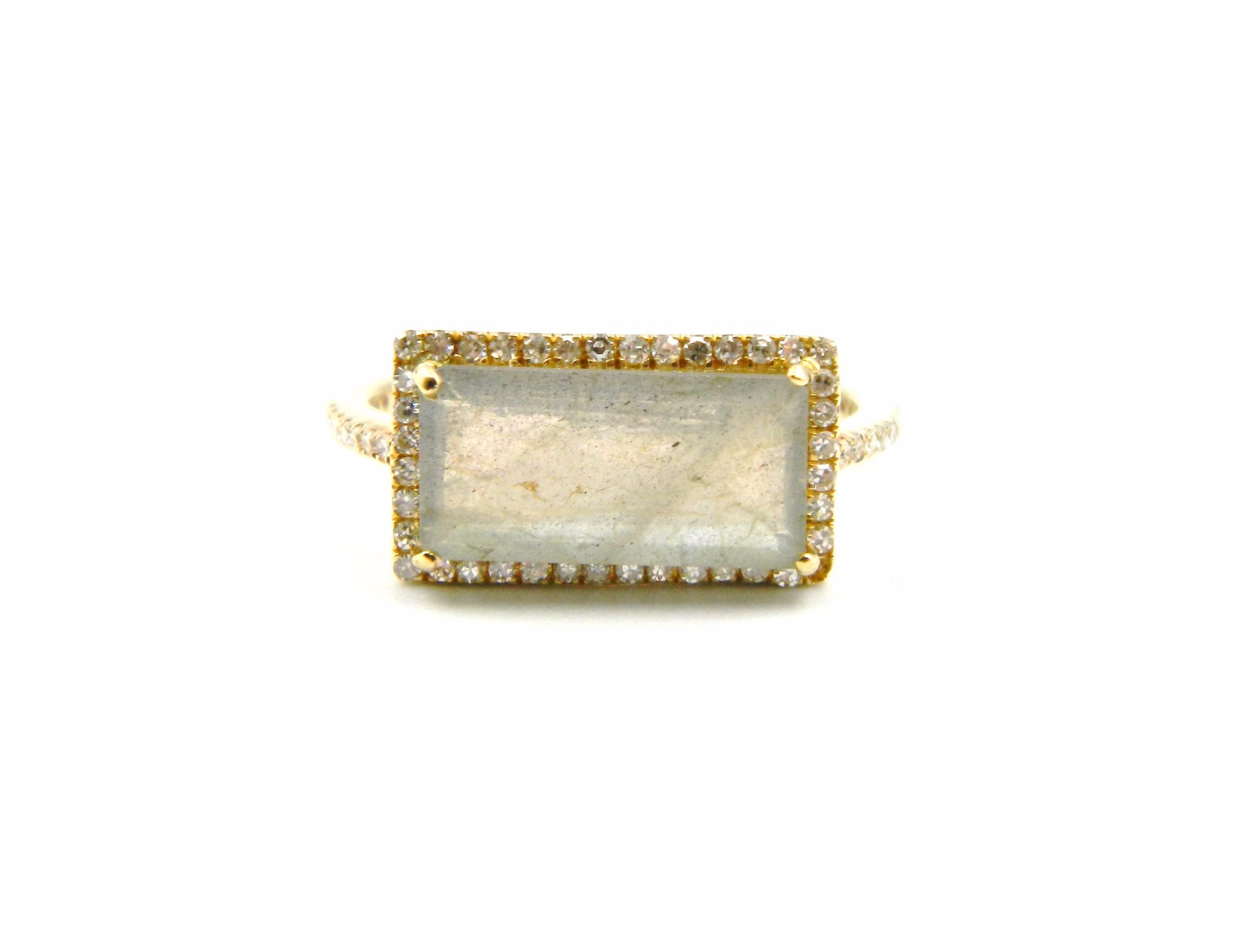 Yellow Gold Labradorite Ring