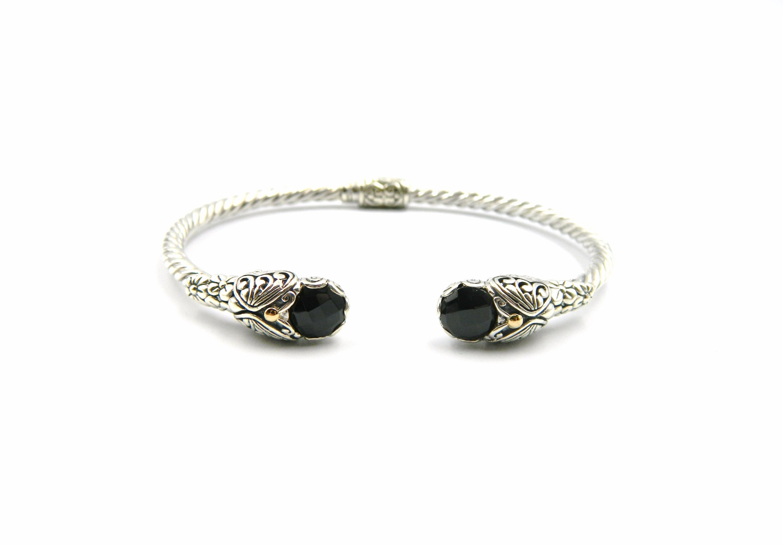 Sterling Silver Onyx Bangle