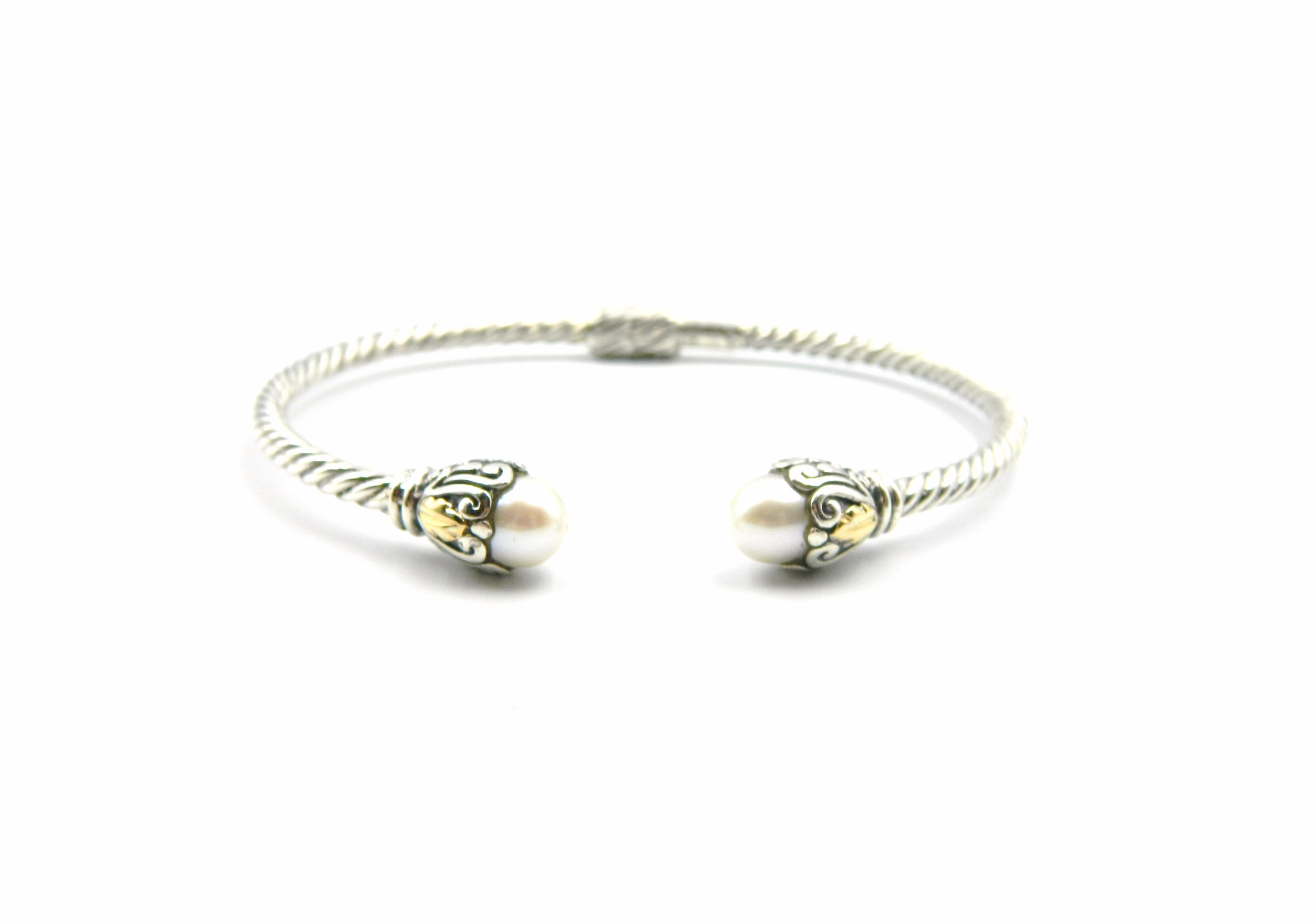 Sterling Silver Pearl Bangle