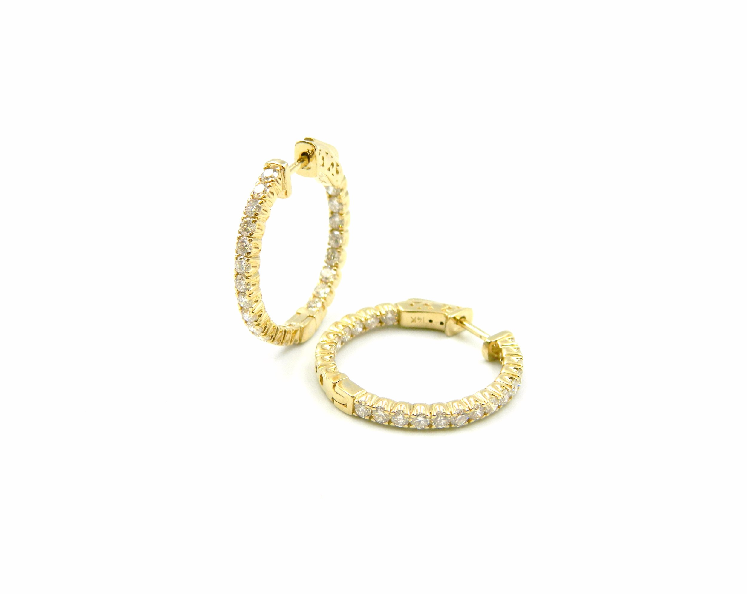 Yellow Gold Inside-Outside Diamonds Hoops