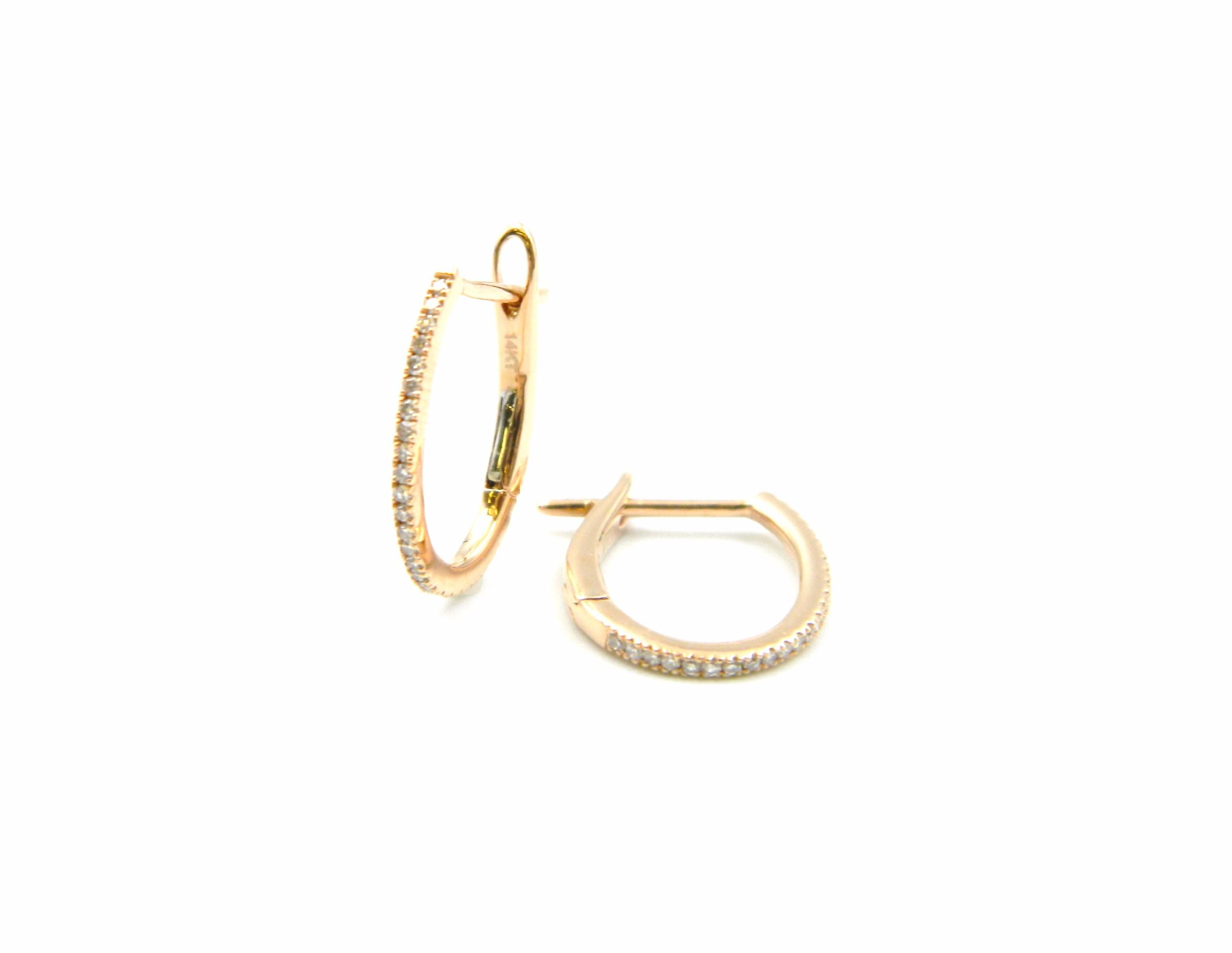 Rose Gold Diamond Oval Hoops