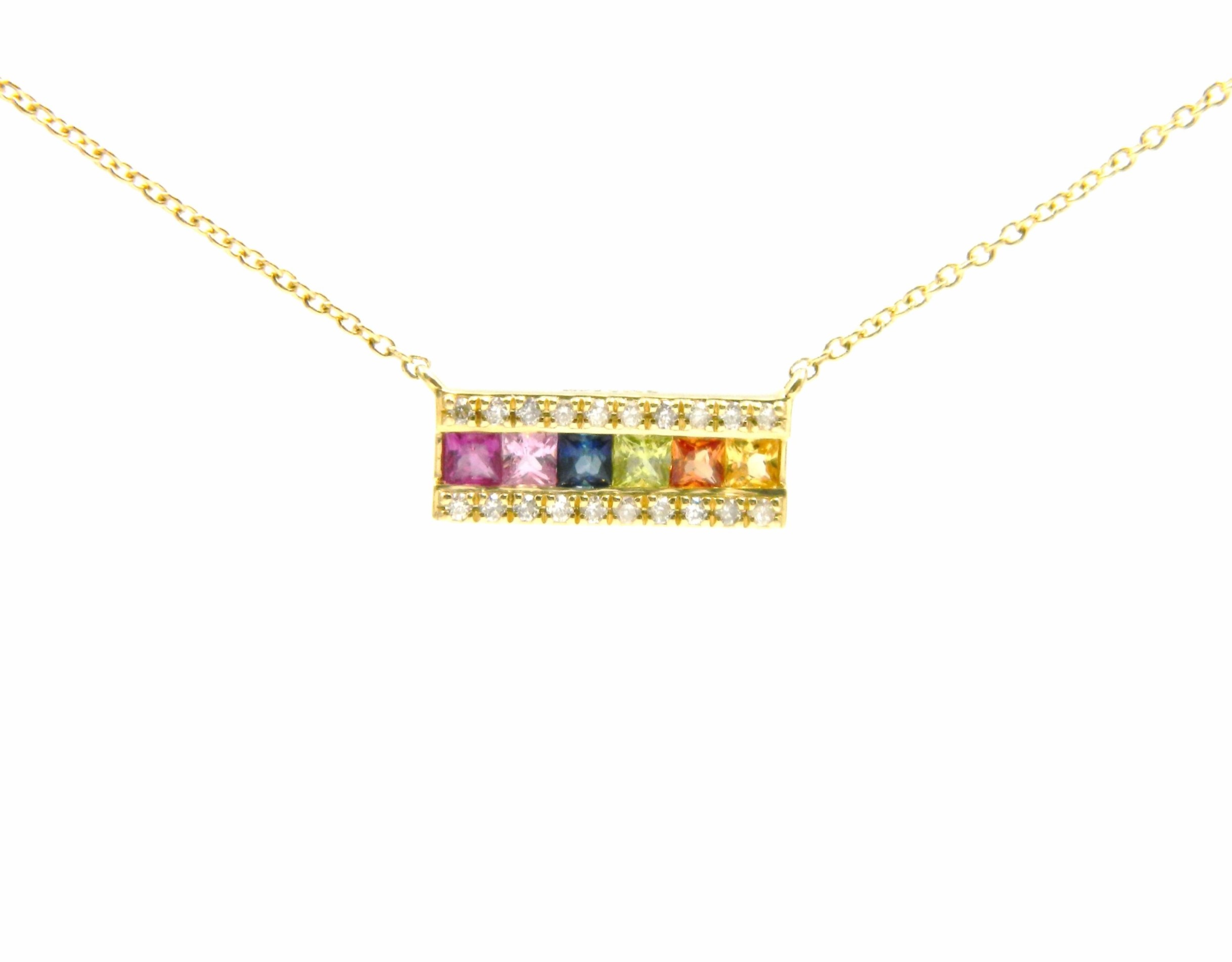 Yellow Gold Rainbow Sapphire Bar Necklace