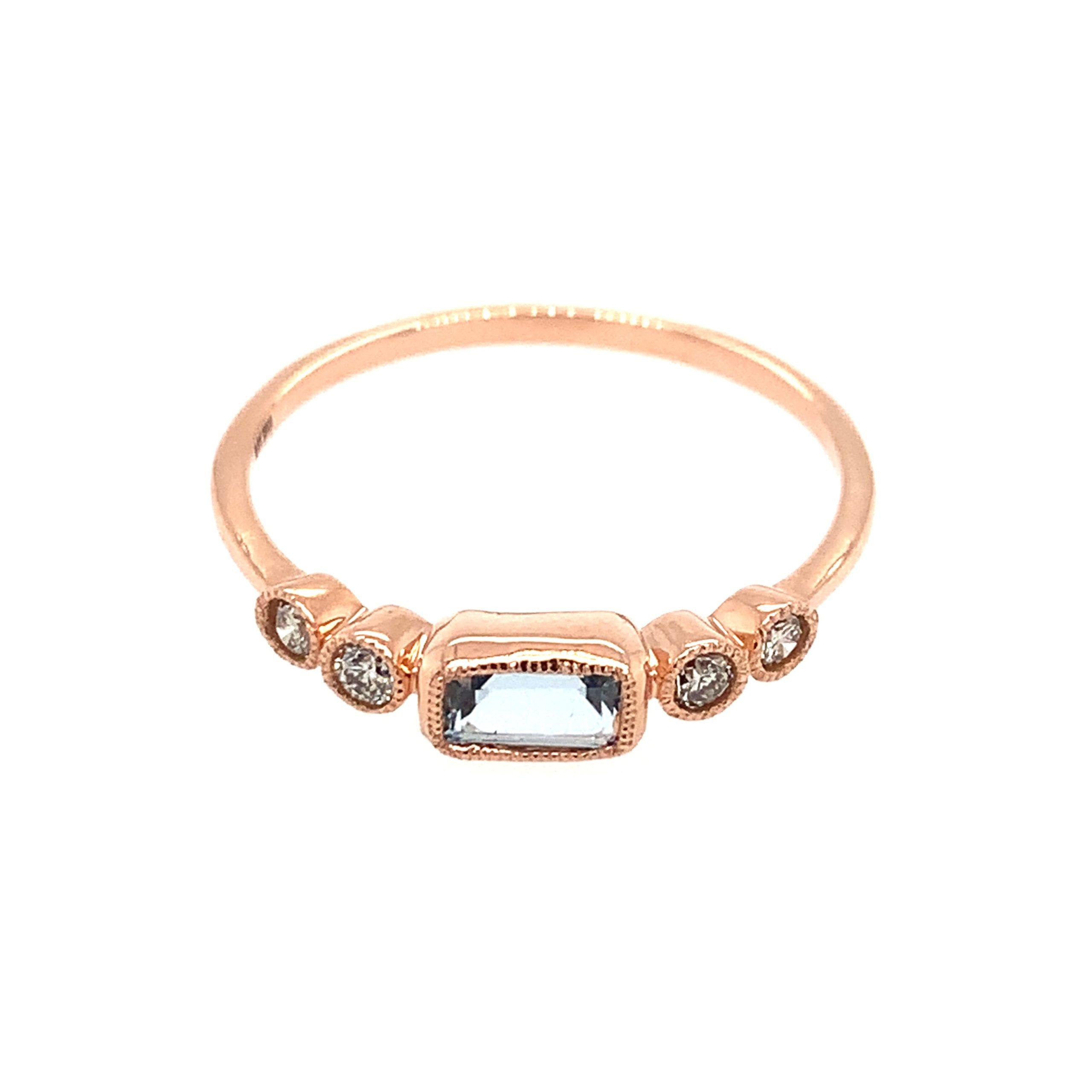 Rose Gold Aquamarine Stackable Ring
