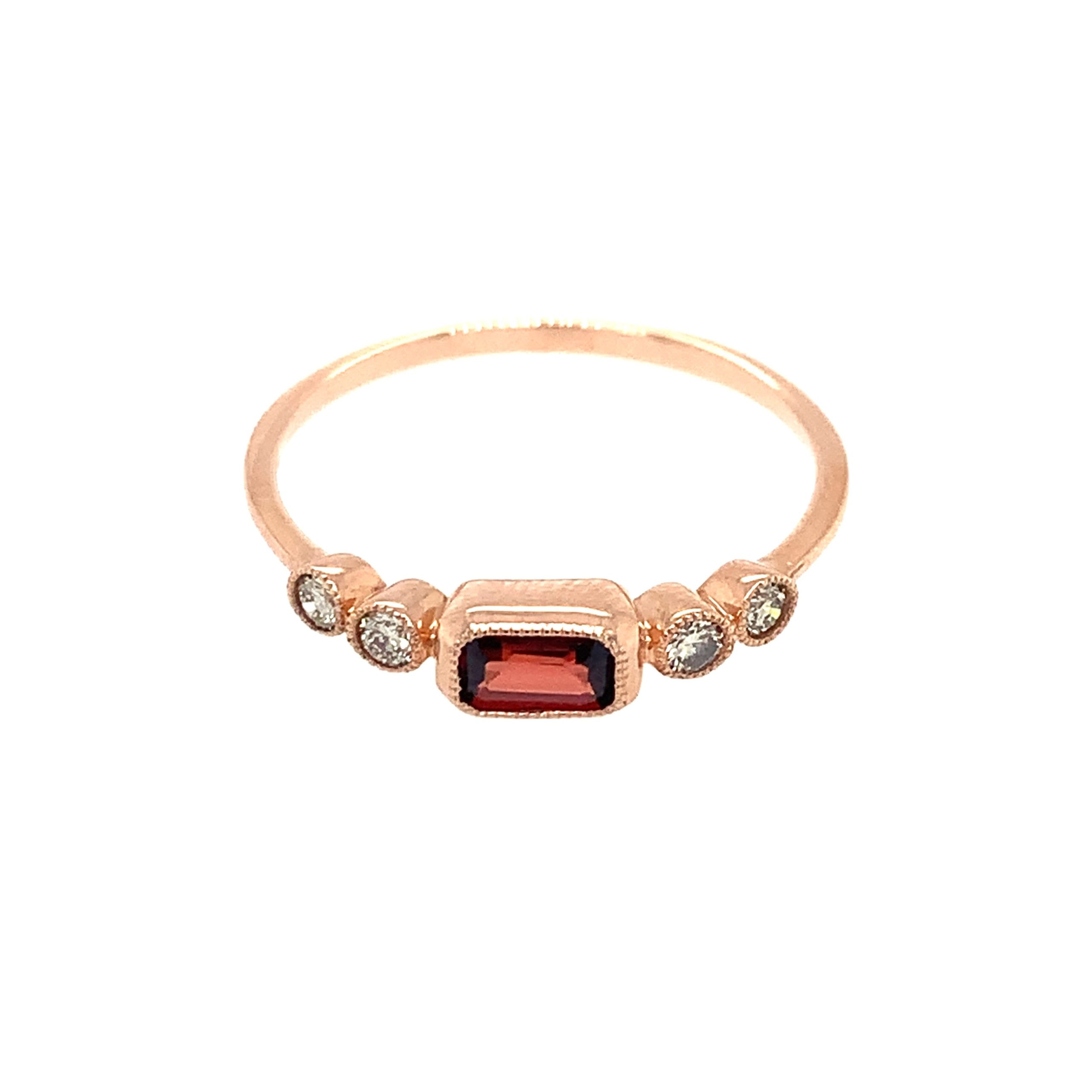 Rose Gold Garnet Stackable Ring