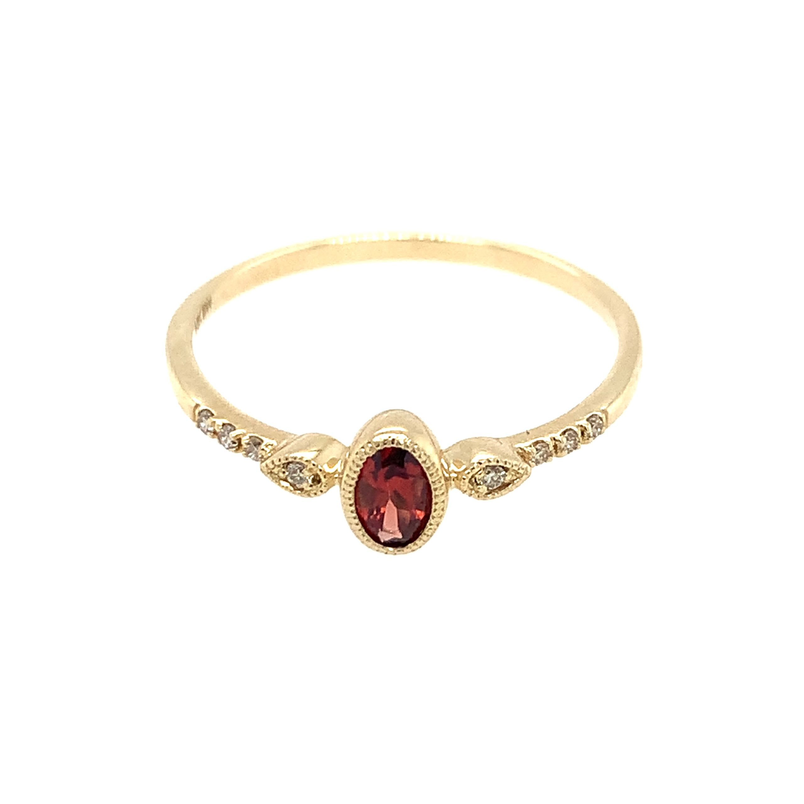 Yellow Gold Garnet Stackable Ring