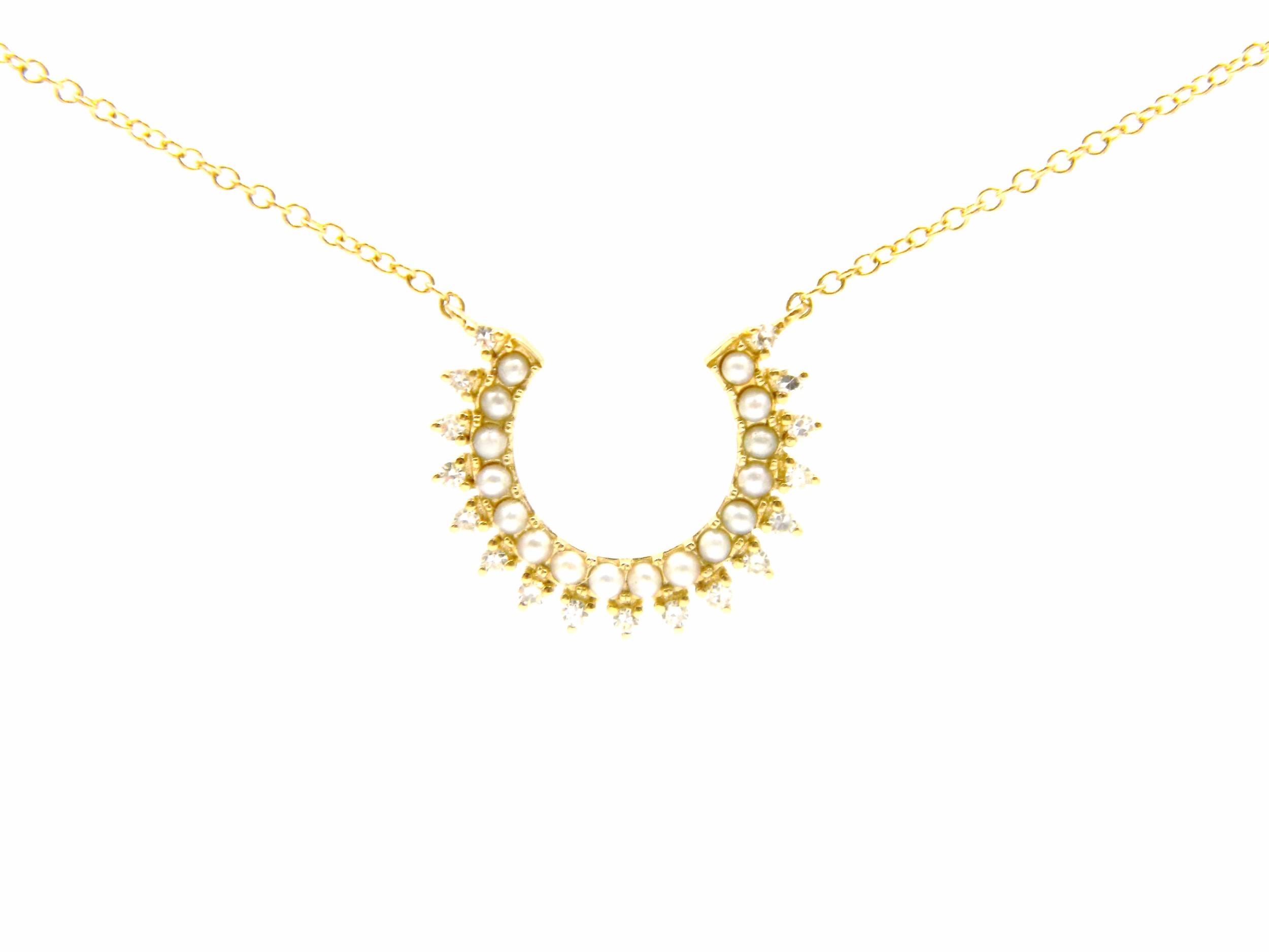 Yellow Gold Pearl Sunburst Necklace