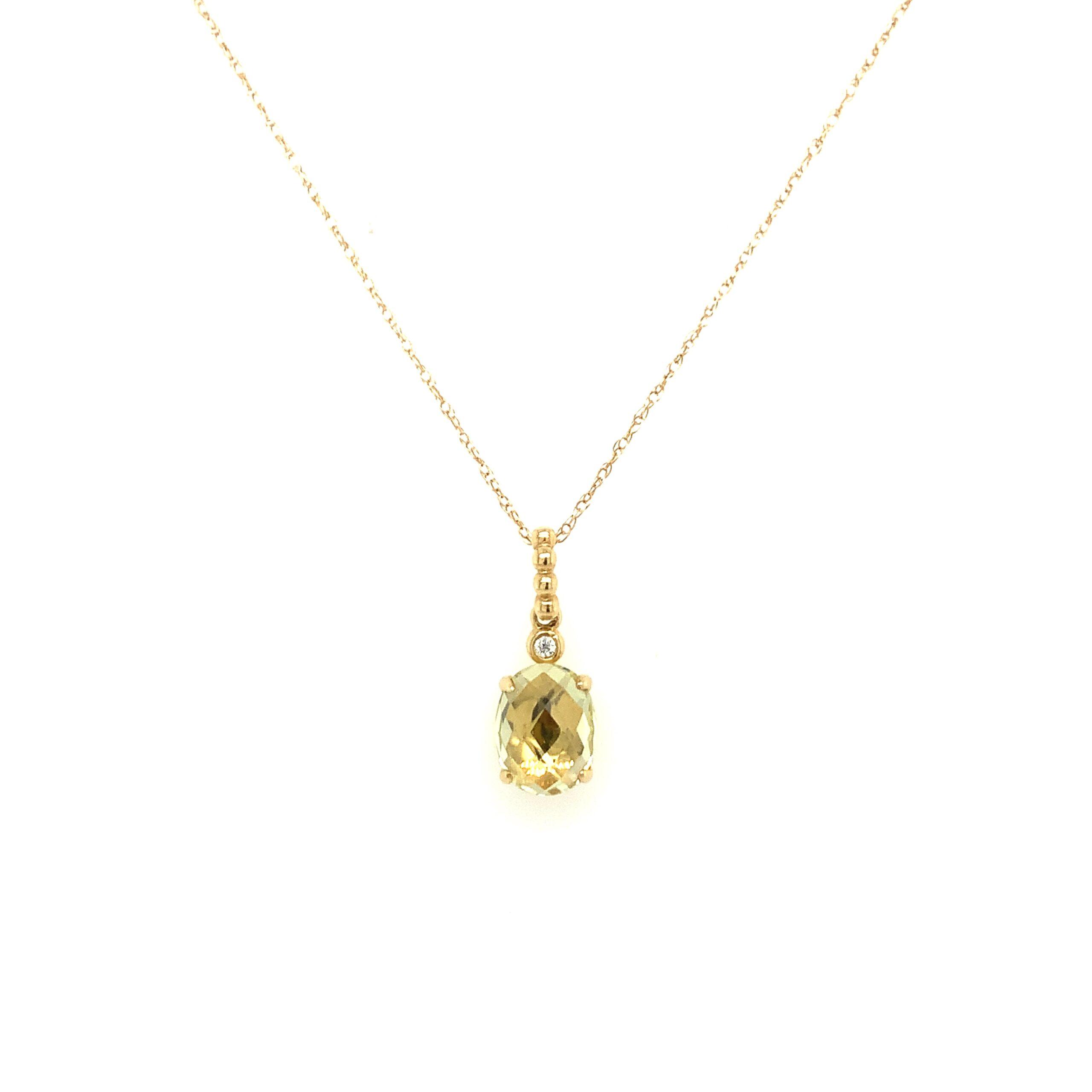Yellow Gold Lemon Quartz Necklace