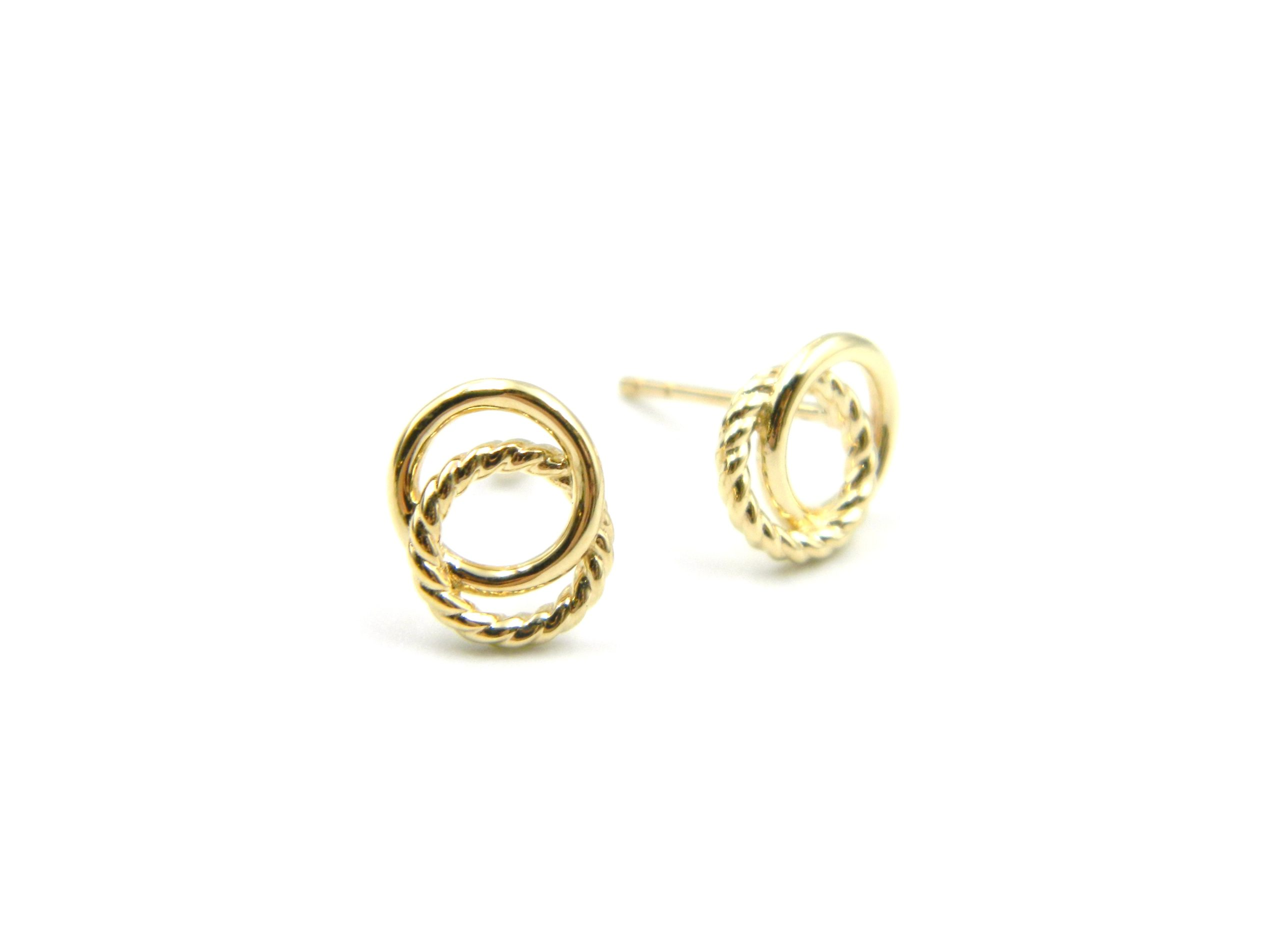 Yellow Gold Twisted Rope & Polished Circle Earrings